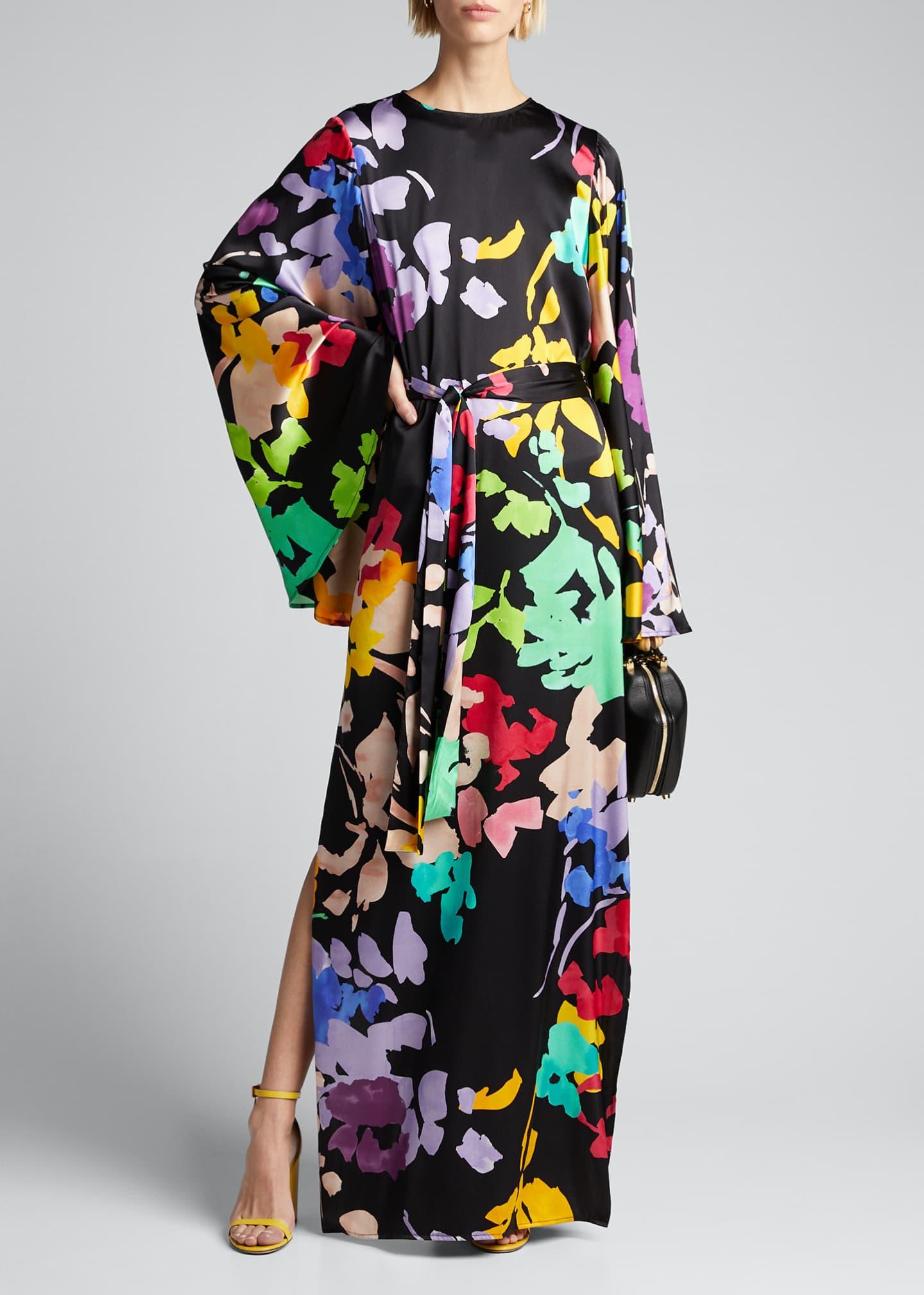 Caroline Constas Lilliana Floral-Print Silk Bell-Sleeve Dress
