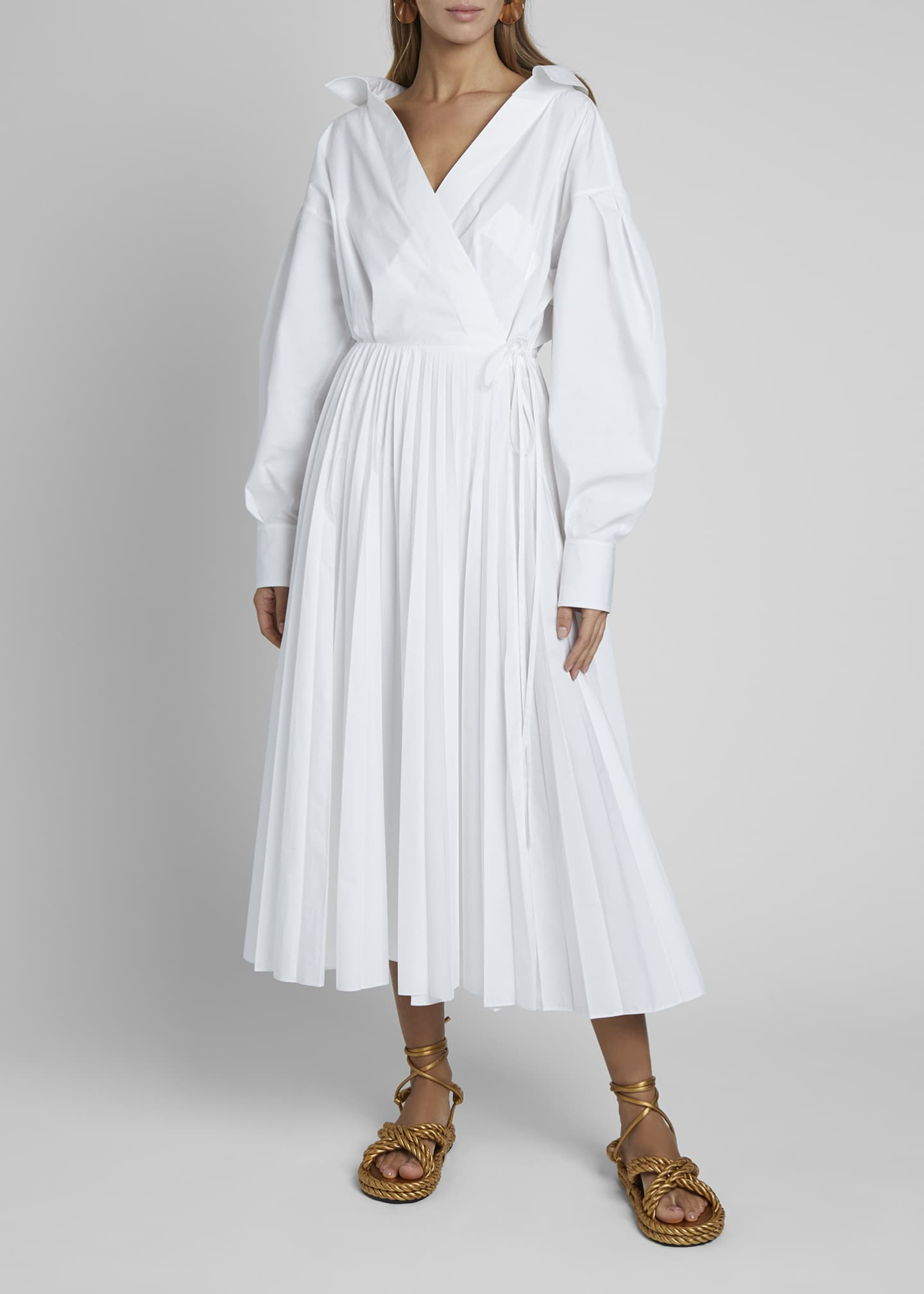 Image 3 of 4: Puff-Sleeve Wrap Dress