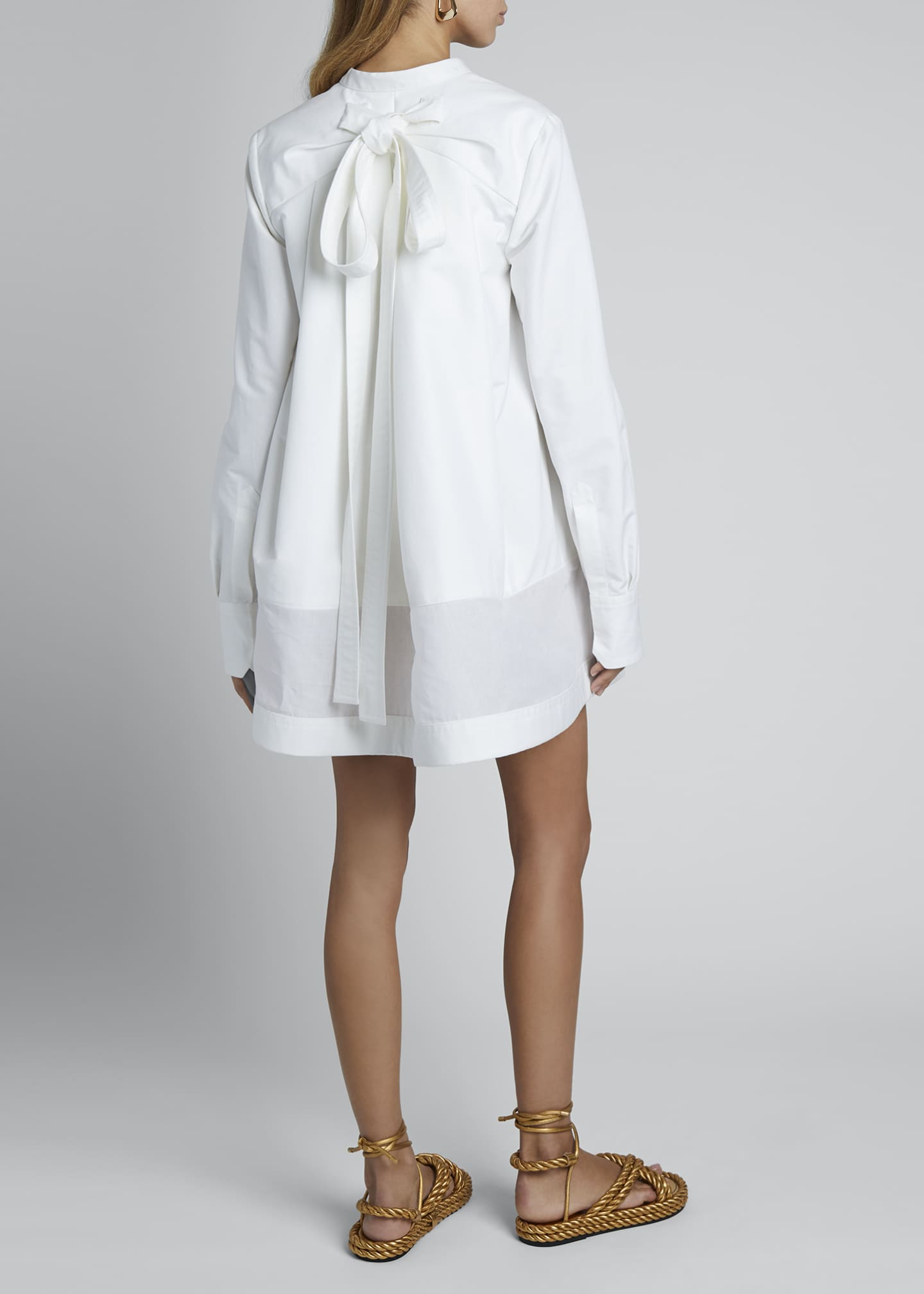 Image 2 of 4: V-Neck Long-Sleeve Sheer Bottom Oversized Shirtdress