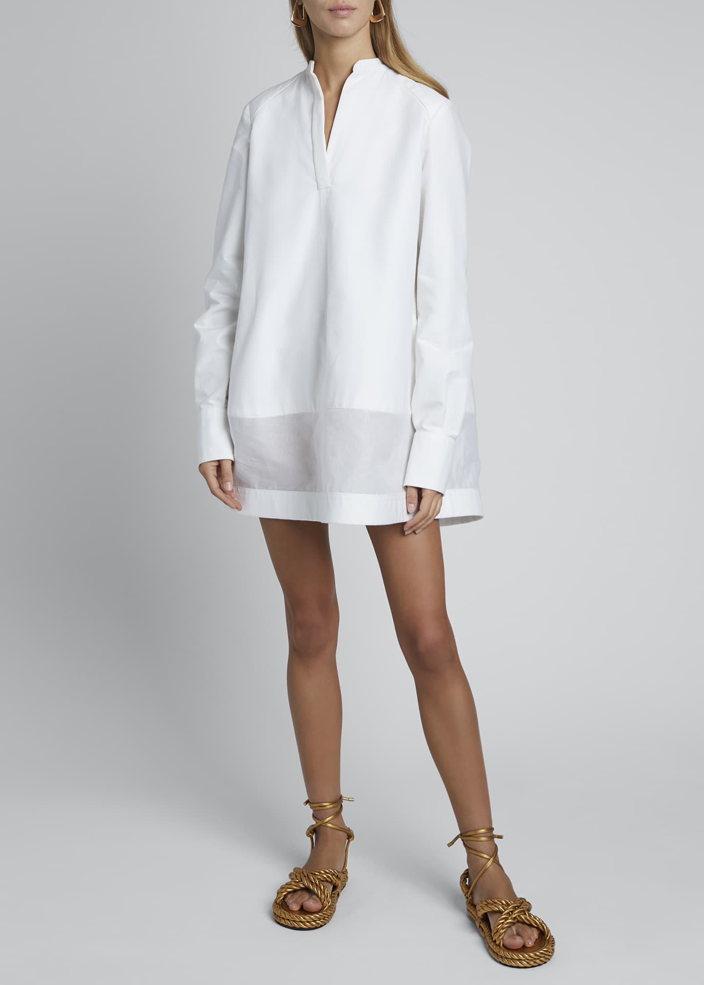 Image 3 of 4: V-Neck Long-Sleeve Sheer Bottom Oversized Shirtdress
