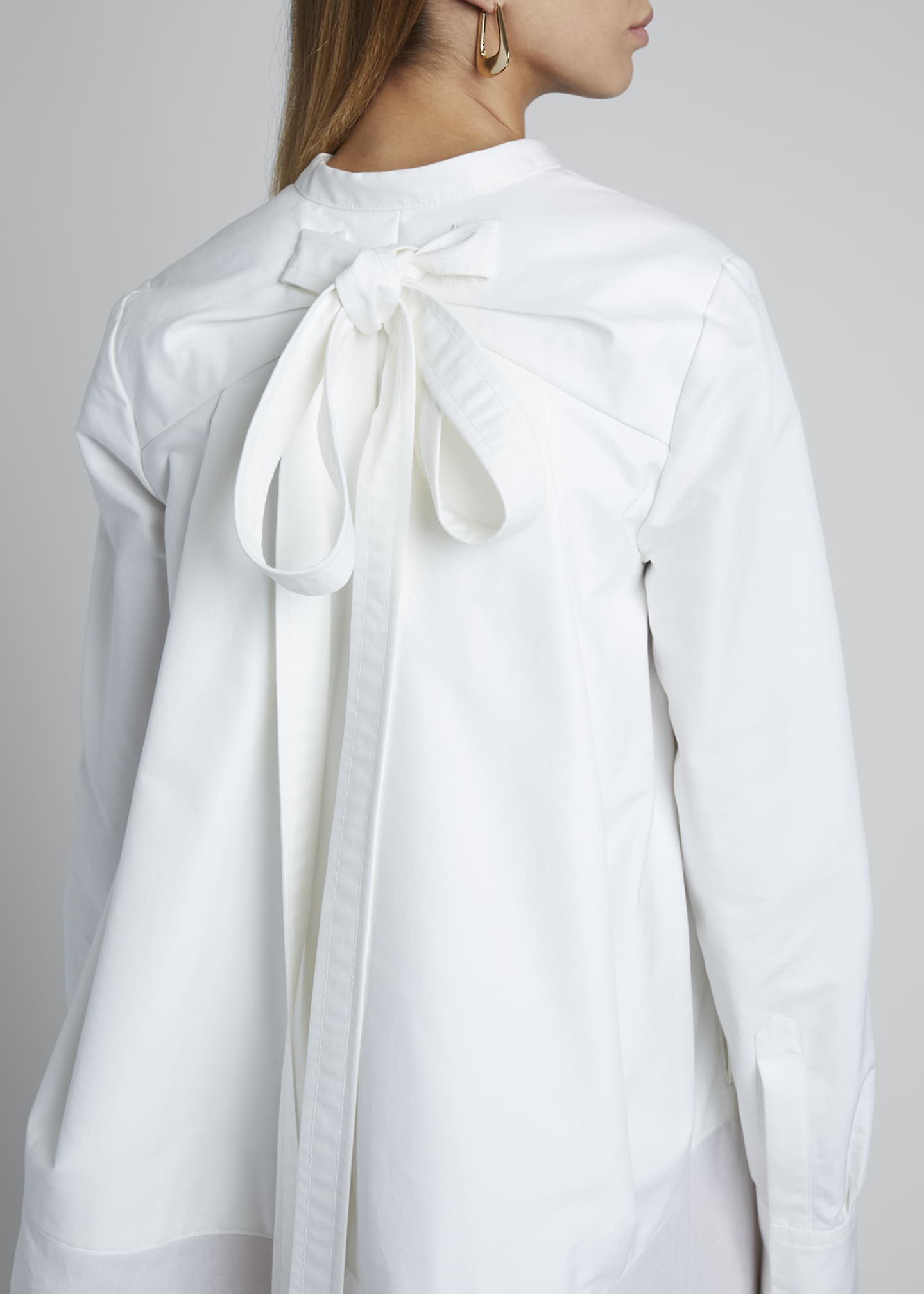 Image 4 of 4: V-Neck Long-Sleeve Sheer Bottom Oversized Shirtdress