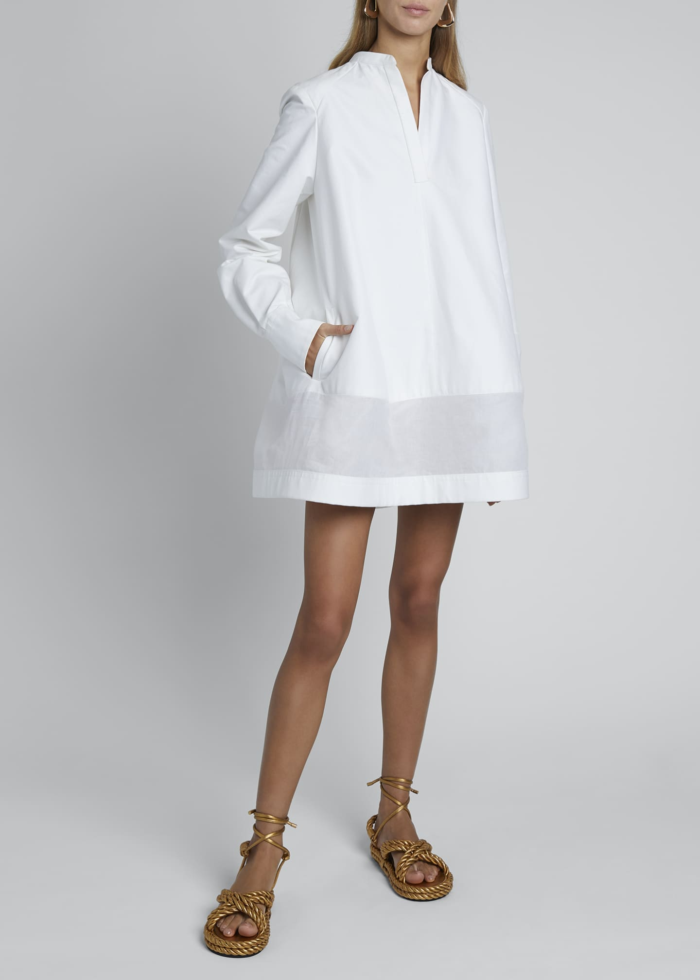 Image 1 of 4: V-Neck Long-Sleeve Sheer Bottom Oversized Shirtdress