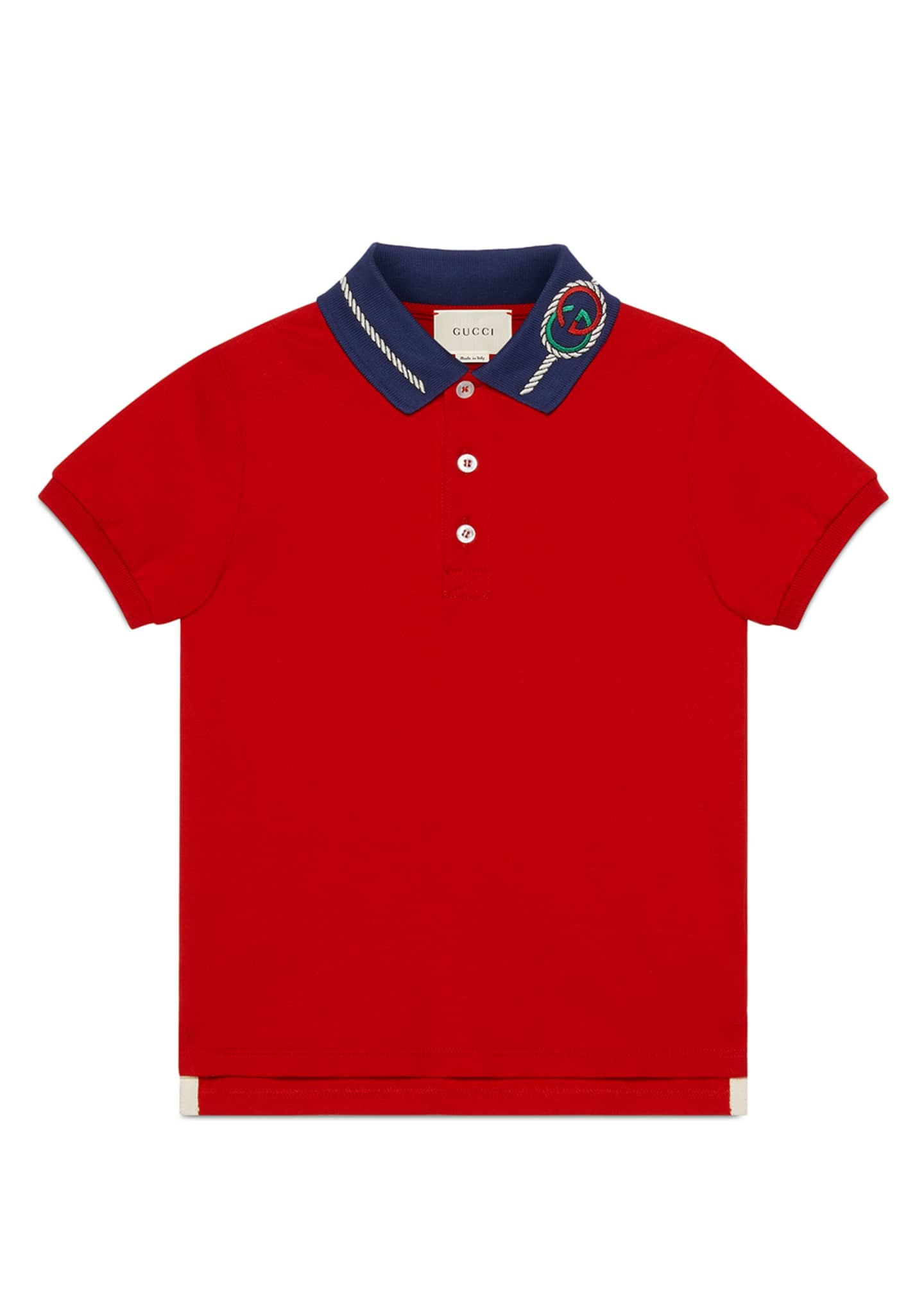 Gucci Boy's Contrast Collar Polo Shirt with GG