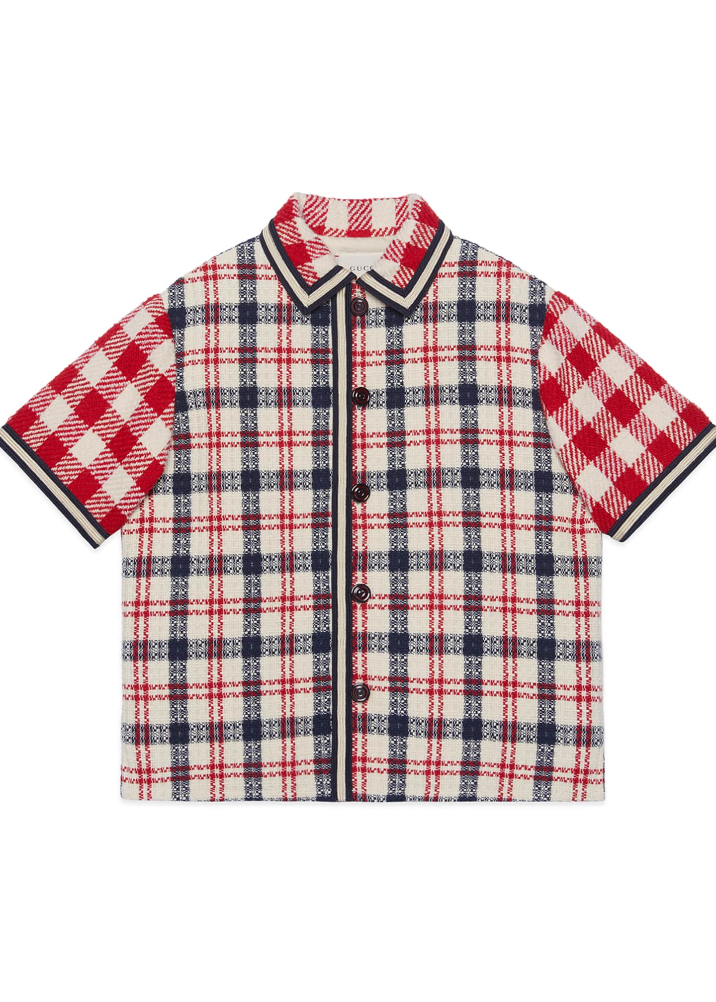 Gucci Boy's Mixed Check Short-Sleeve Button-Front Jacket, Size