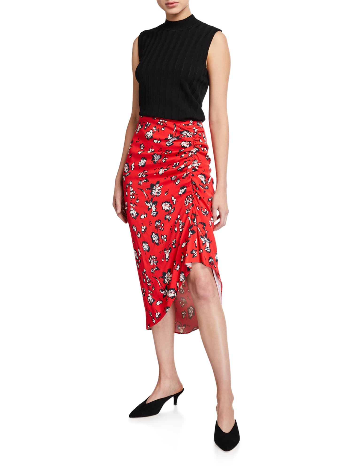 Image 3 of 3: Cheryl Floral Ruched Asymmetric Skirt