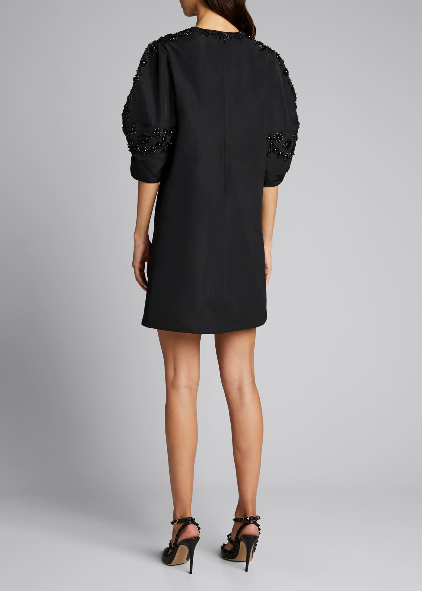 Image 2 of 5: Micro Faille Embellished Puff-Sleeve Dress