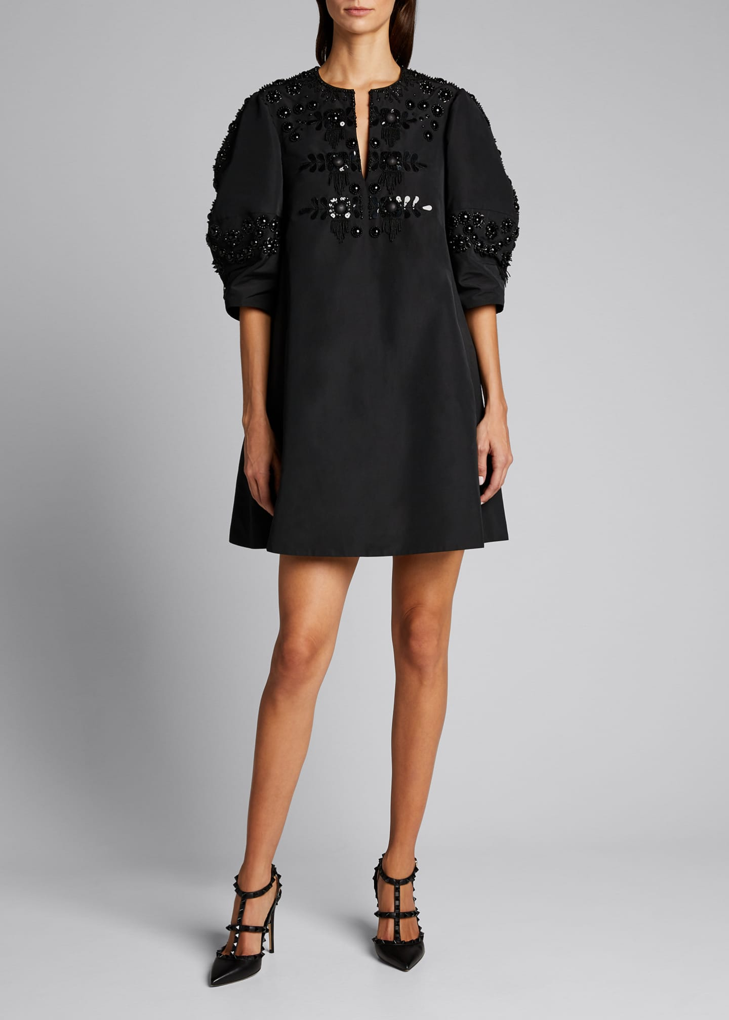 Image 3 of 5: Micro Faille Embellished Puff-Sleeve Dress