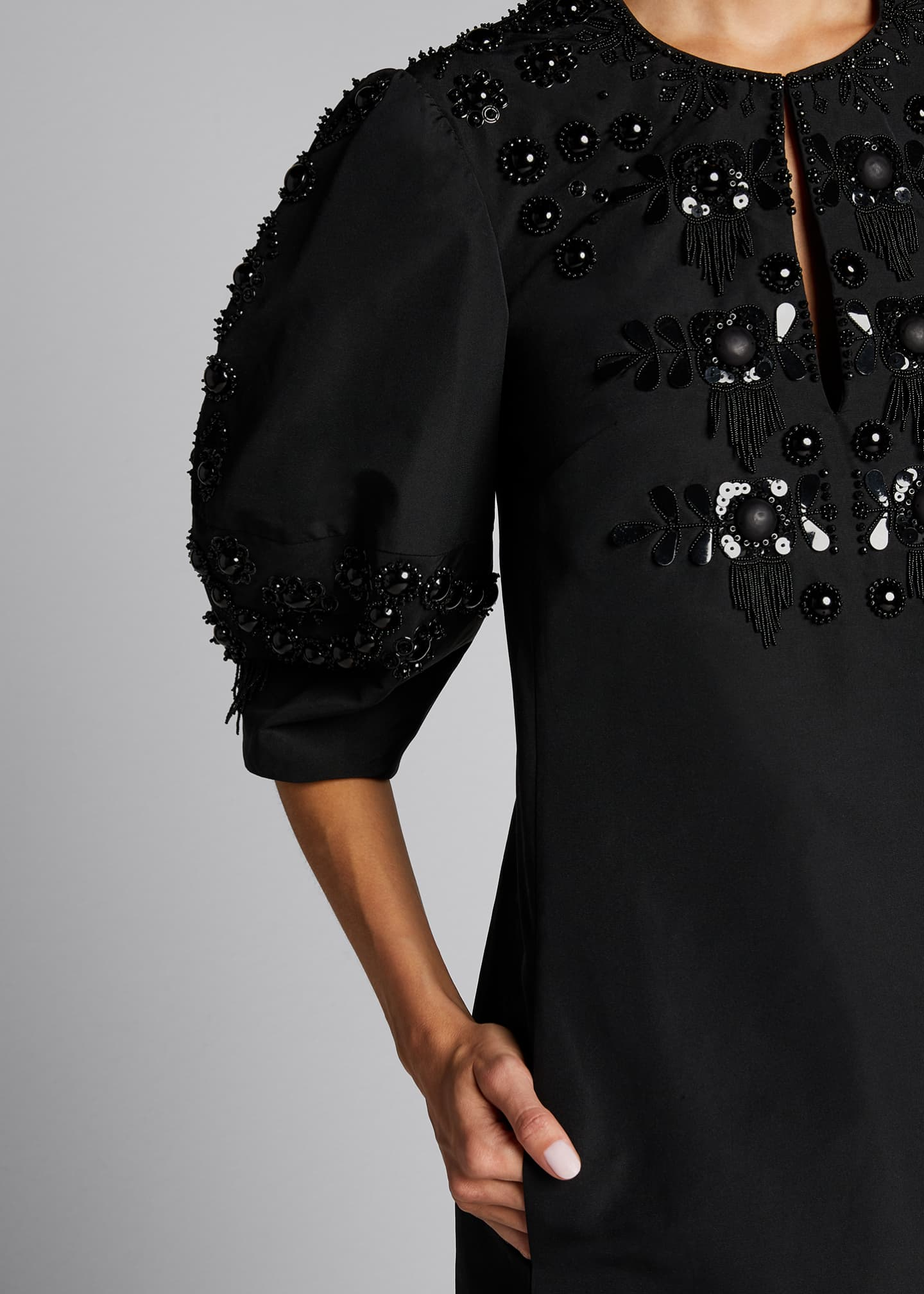 Image 4 of 5: Micro Faille Embellished Puff-Sleeve Dress