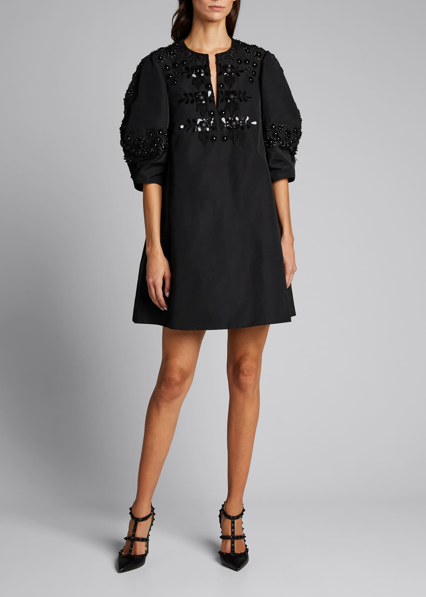 Image 1 of 5: Micro Faille Embellished Puff-Sleeve Dress