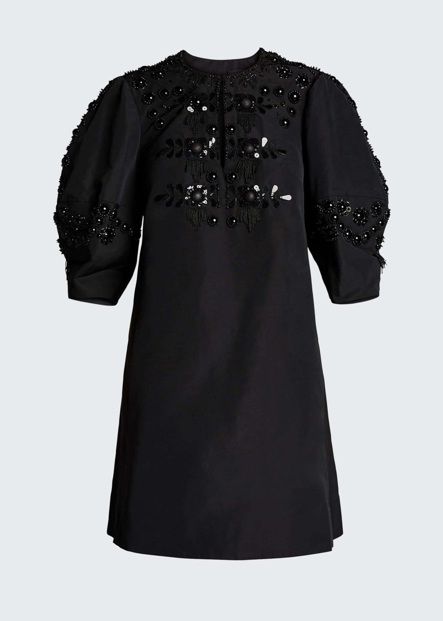 Image 5 of 5: Micro Faille Embellished Puff-Sleeve Dress