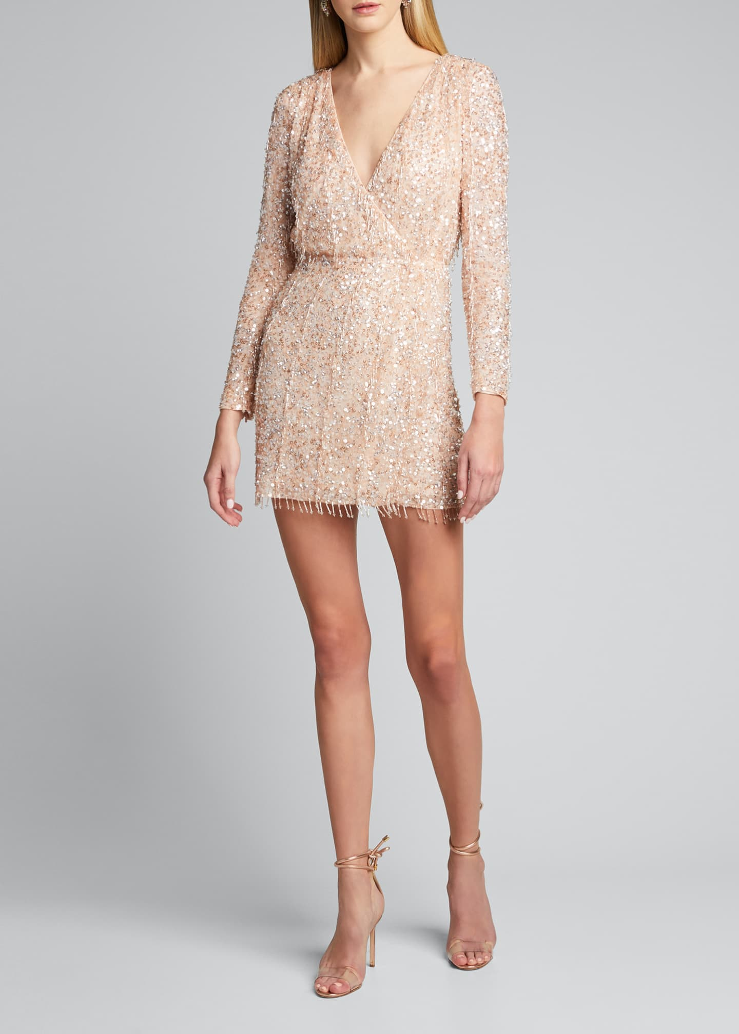 Image 3 of 5: Embellished Long-Sleeve Dress