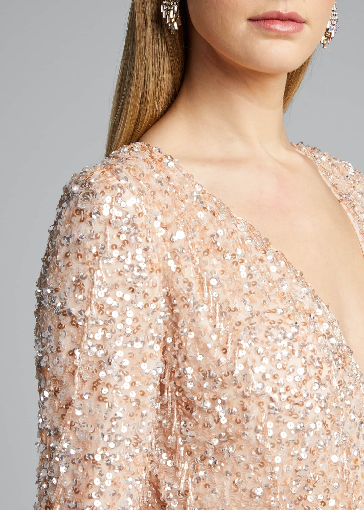 Image 4 of 5: Embellished Long-Sleeve Dress