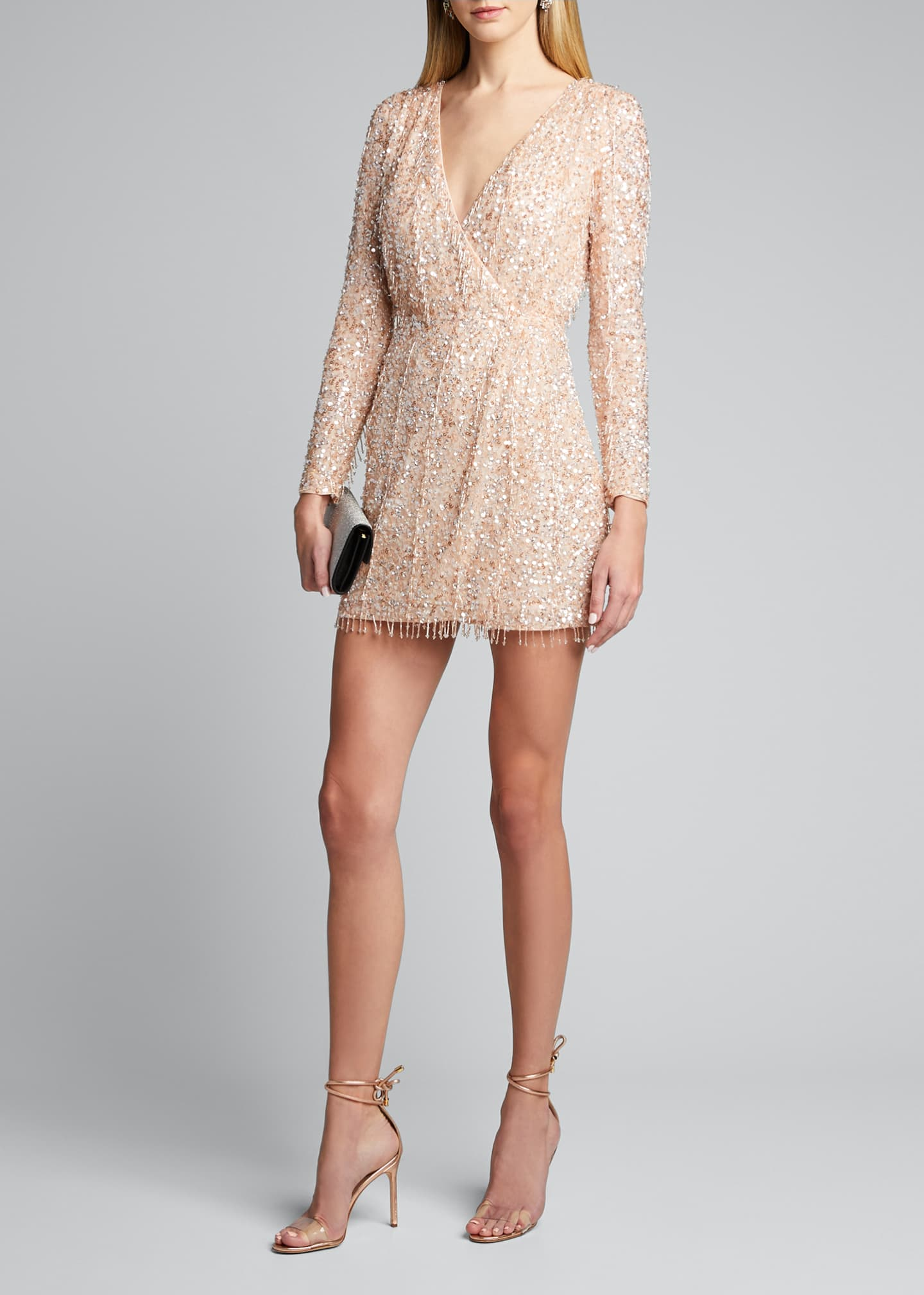 Image 1 of 5: Embellished Long-Sleeve Dress