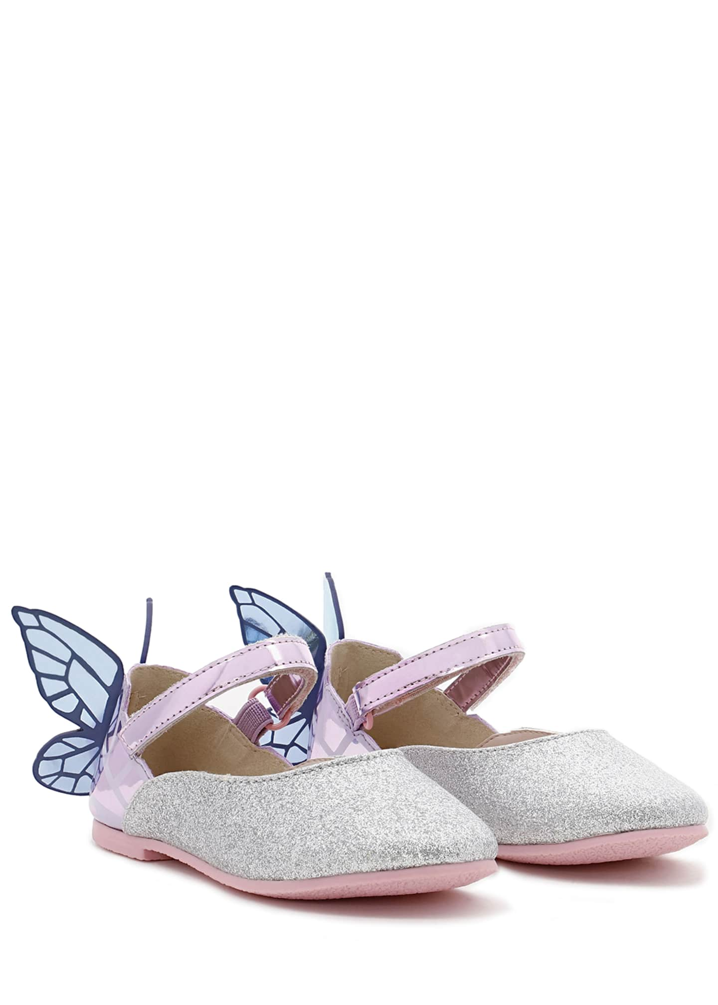 Image 2 of 3: Chiara Fine Glitter Mirrored Butterfly Mary Jane Flats, Baby/Toddler