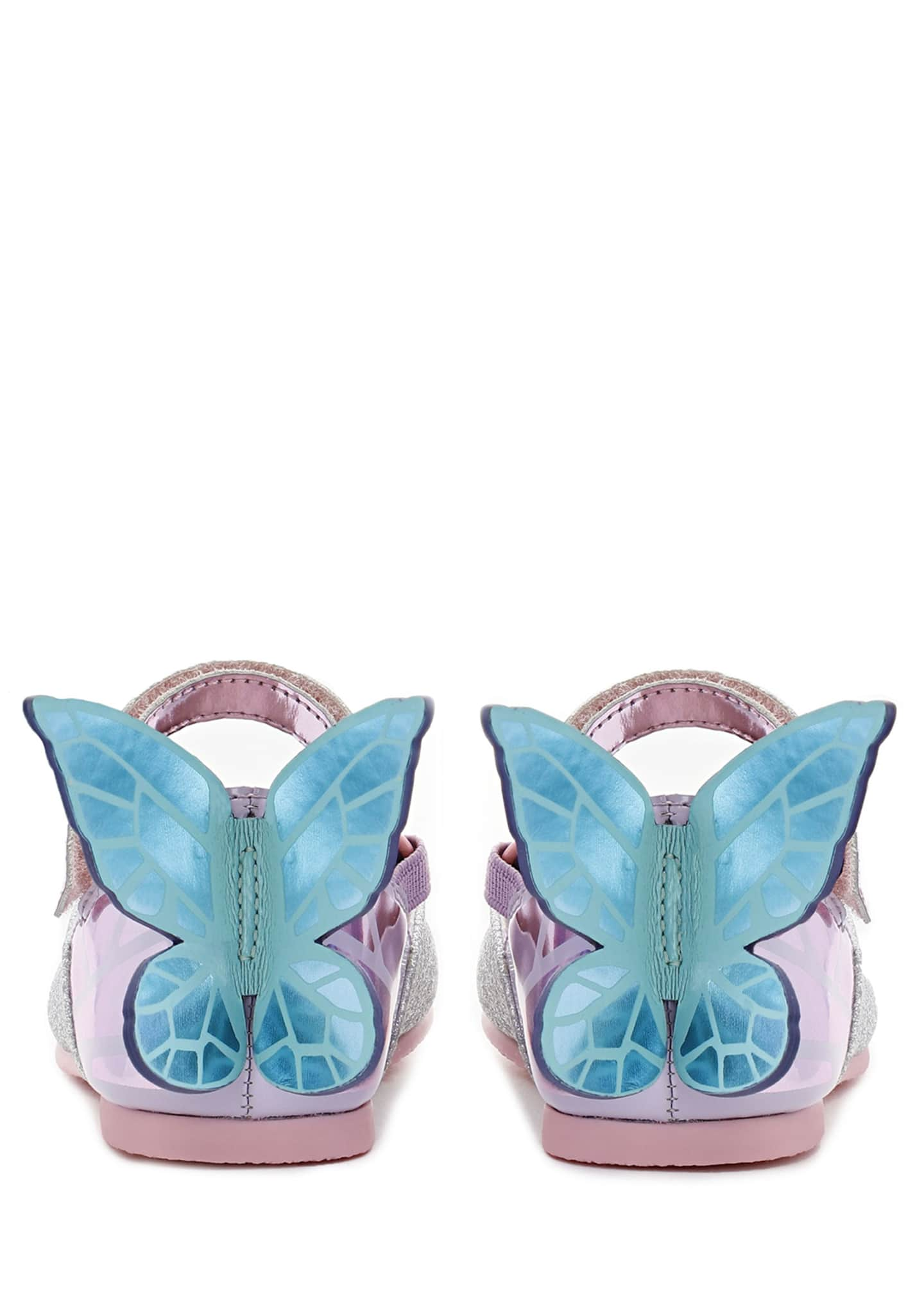 Image 3 of 3: Chiara Fine Glitter Mirrored Butterfly Mary Jane Flats, Baby/Toddler