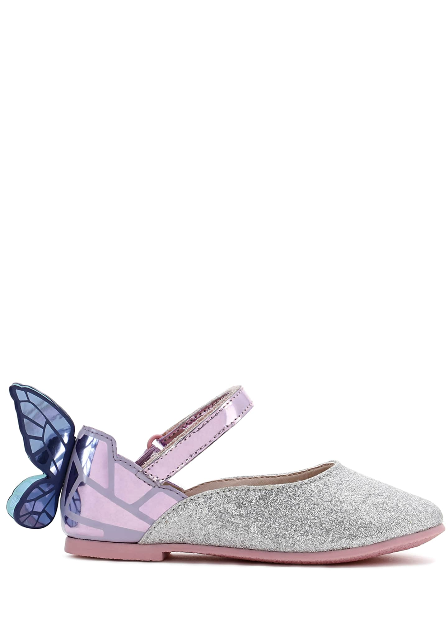 Image 1 of 3: Chiara Fine Glitter Mirrored Butterfly Mary Jane Flats, Baby/Toddler