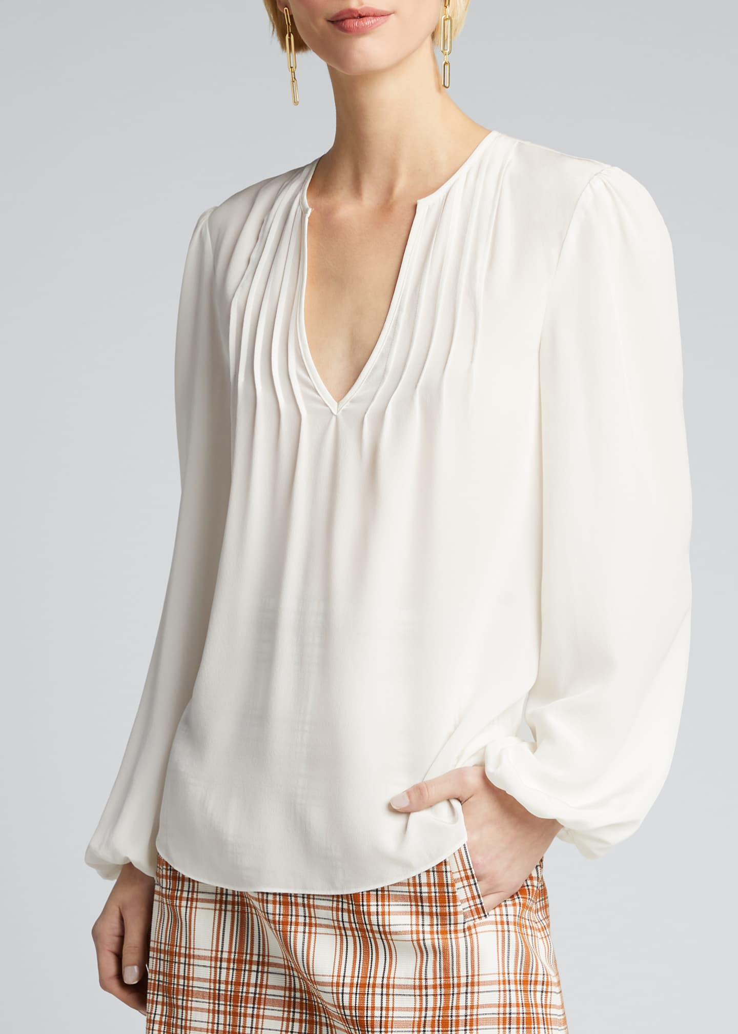 Image 3 of 5: Staci Silk V-Neck Top