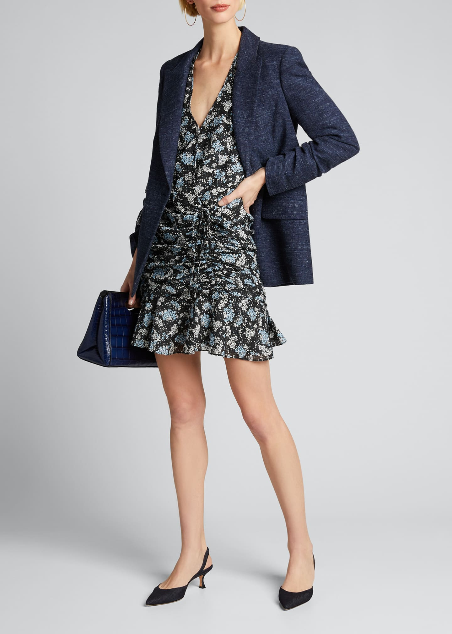Image 1 of 5: Sean Ruched Floral-Print Dress