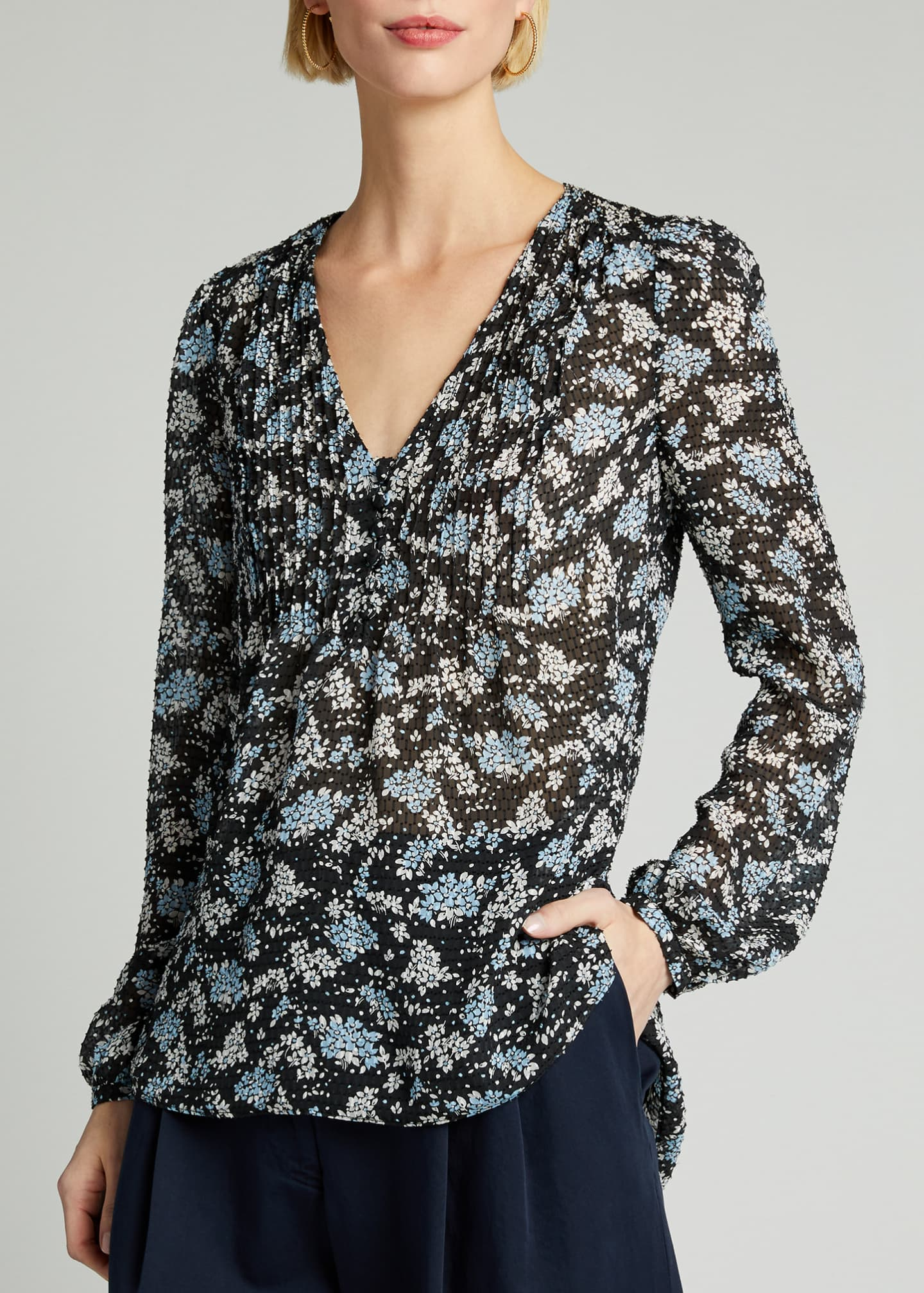 Image 3 of 5: Lowell V-Neck Floral-Print Blouse
