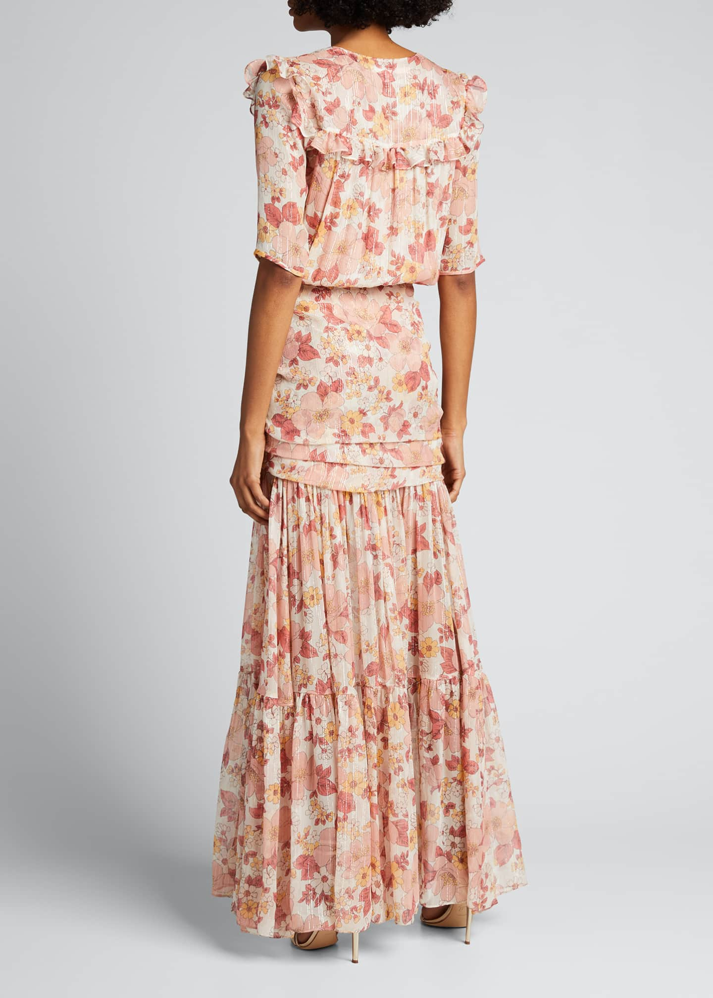Image 2 of 5: Mick Ruched Floral-Print Long Dress