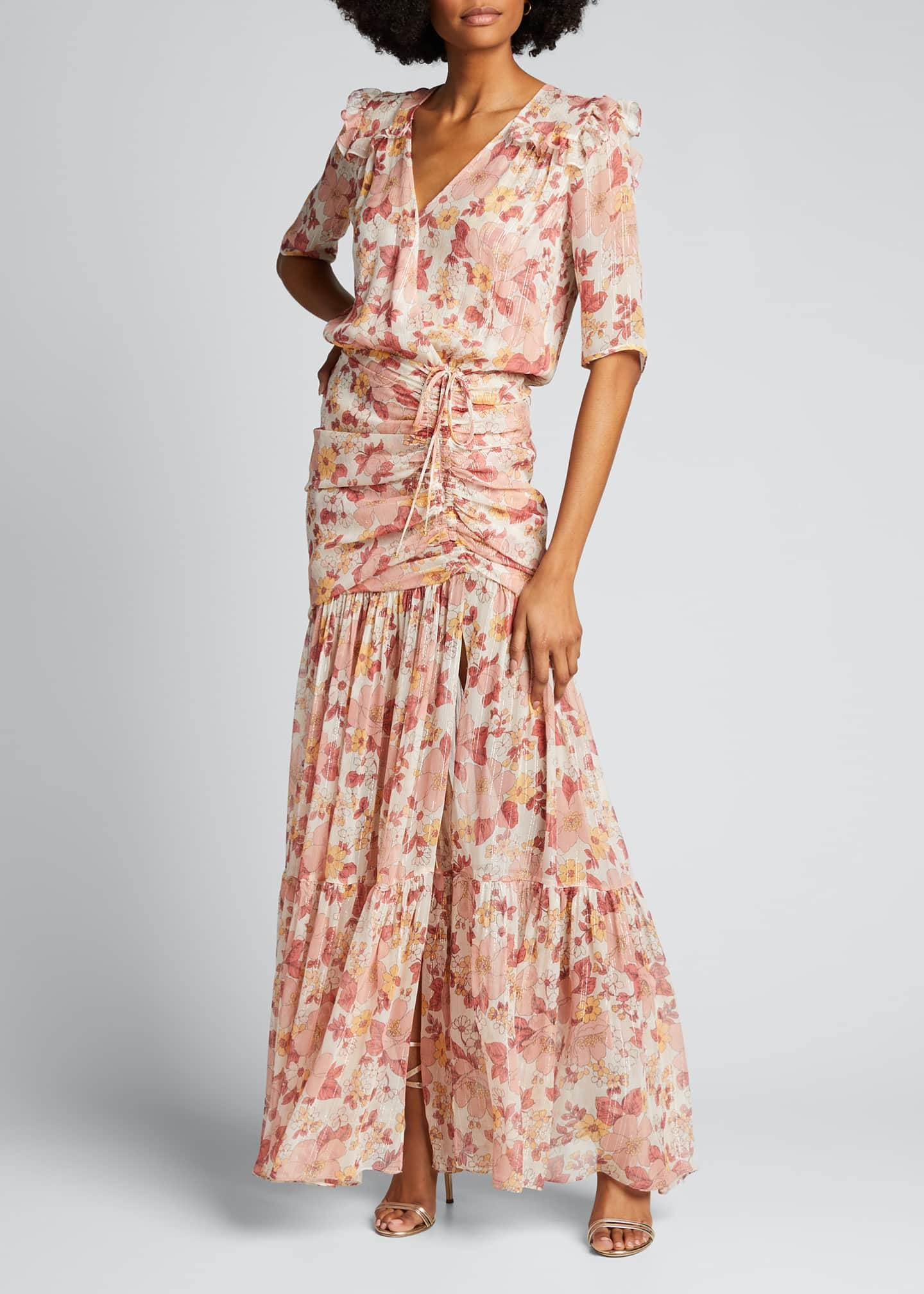 Image 3 of 5: Mick Ruched Floral-Print Long Dress