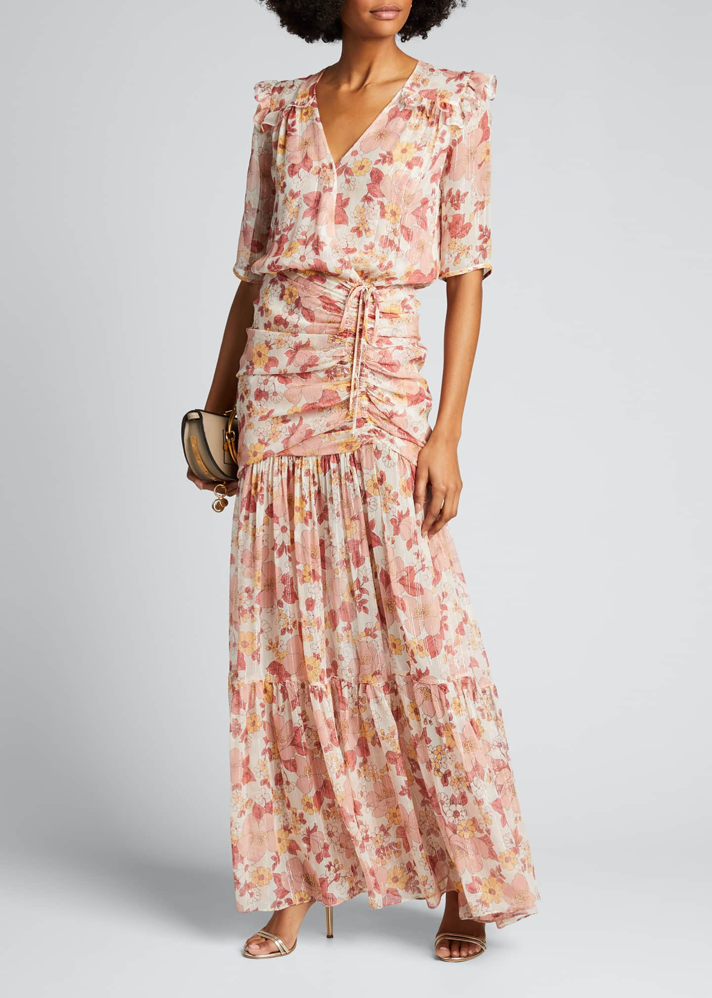 Image 1 of 5: Mick Ruched Floral-Print Long Dress