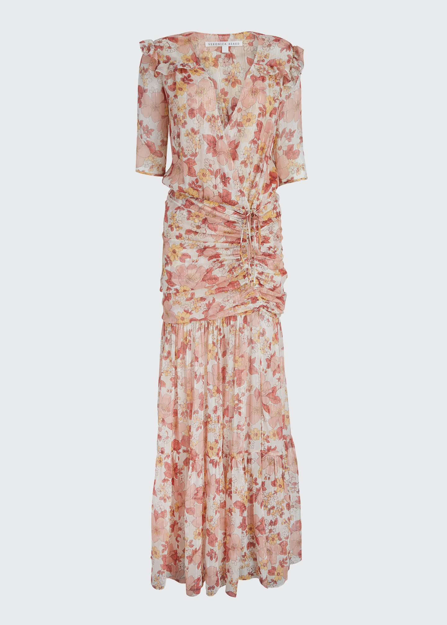 Image 5 of 5: Mick Ruched Floral-Print Long Dress