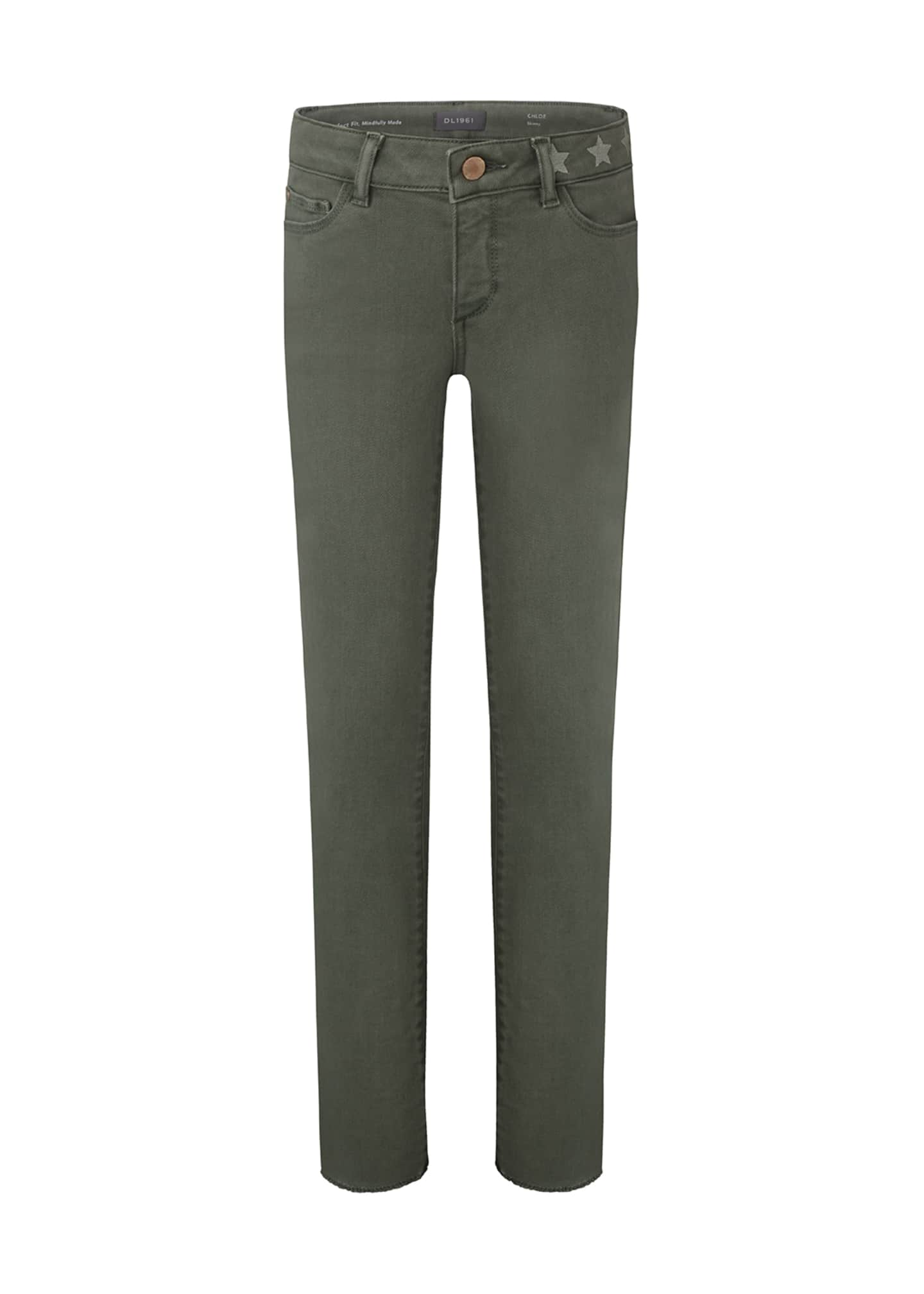 Image 1 of 3: Girl's Chloe Skinny Raw Hem Side Stripe Skinny Denim Jeans, Size 7-16