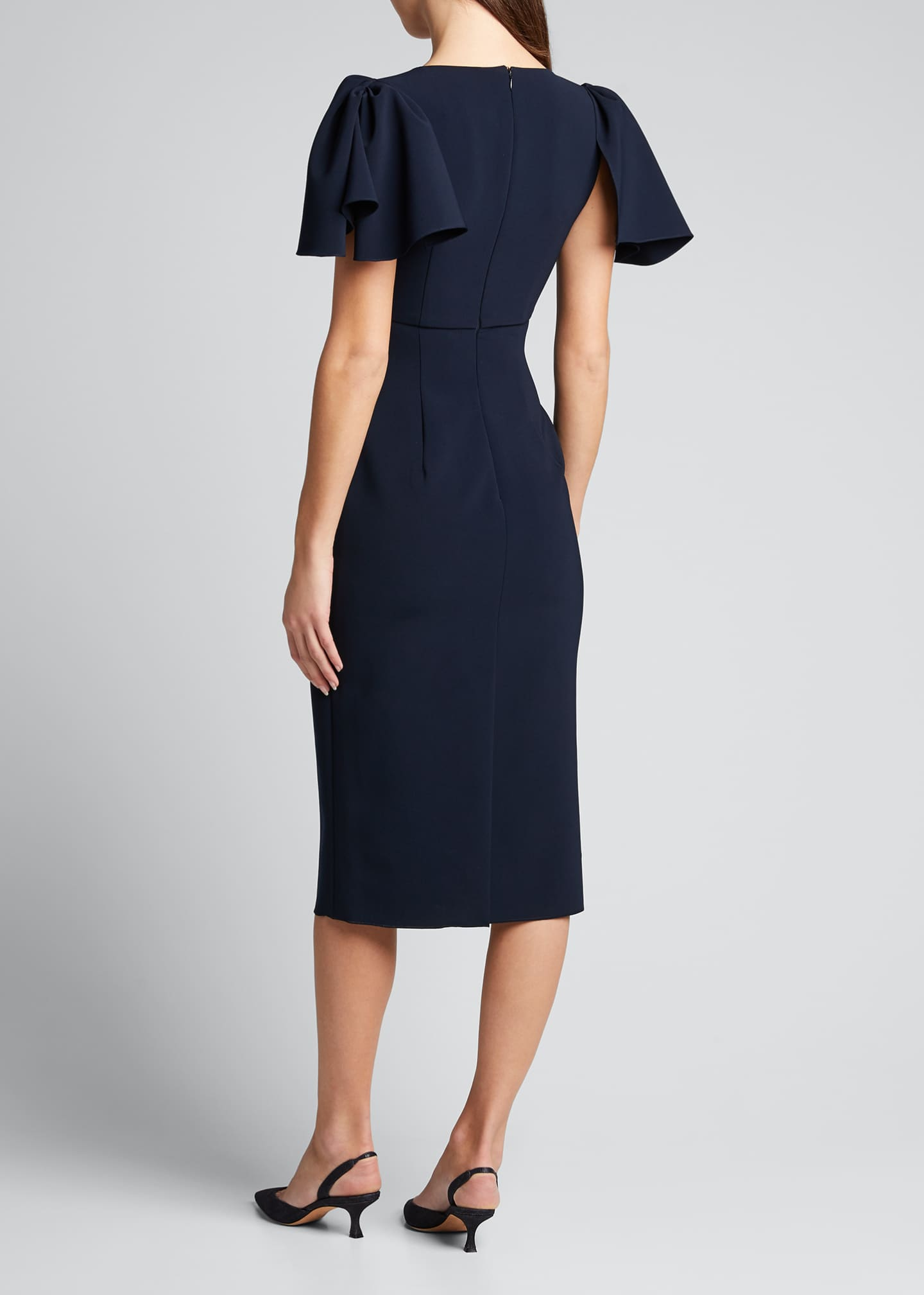 Image 2 of 5: Ruffle-Sleeve V-Neck Sheath Dress