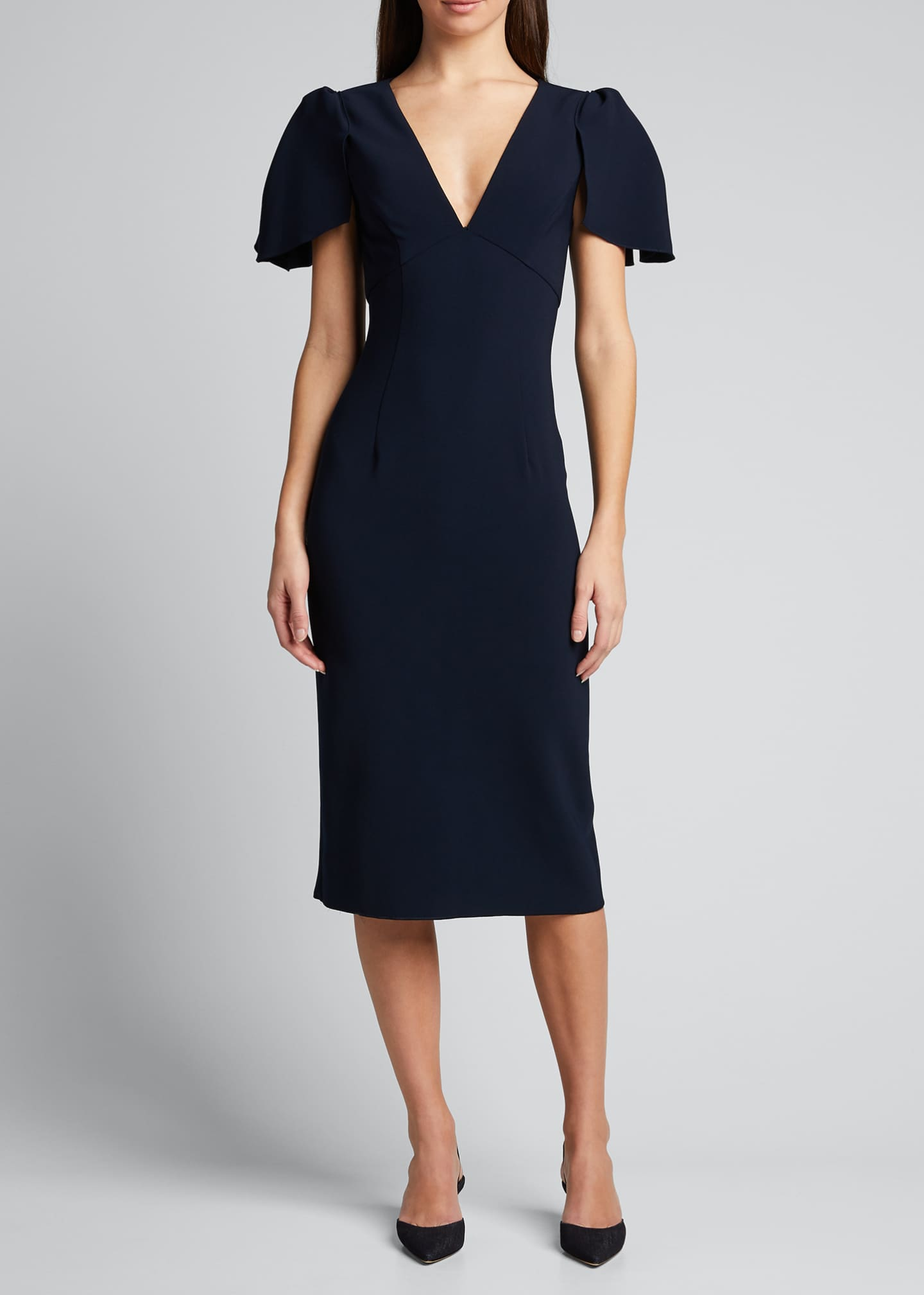 Image 3 of 5: Ruffle-Sleeve V-Neck Sheath Dress