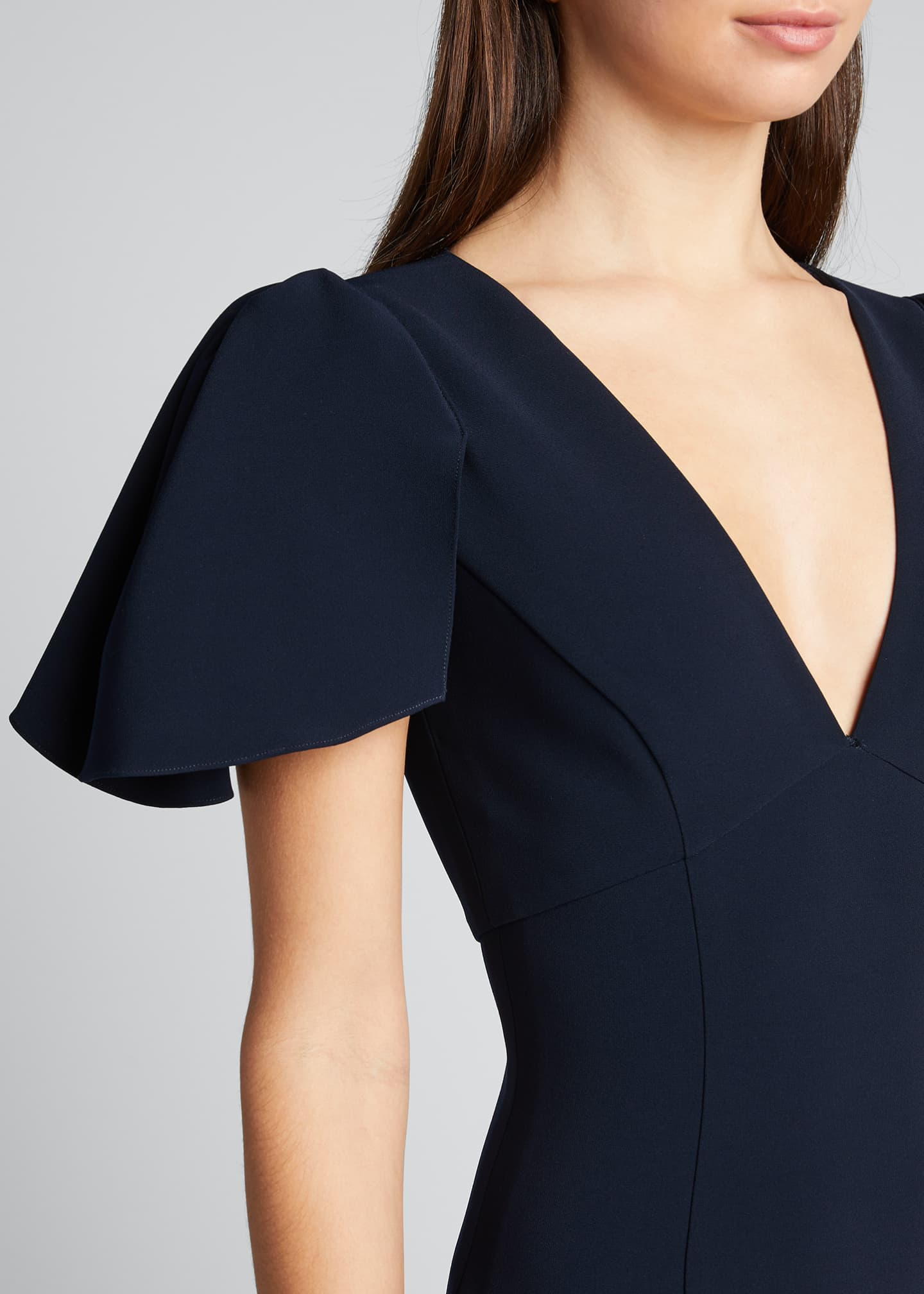 Image 4 of 5: Ruffle-Sleeve V-Neck Sheath Dress