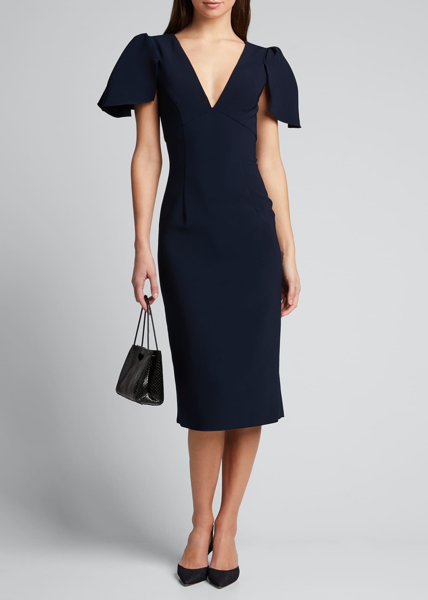 Image 1 of 5: Ruffle-Sleeve V-Neck Sheath Dress