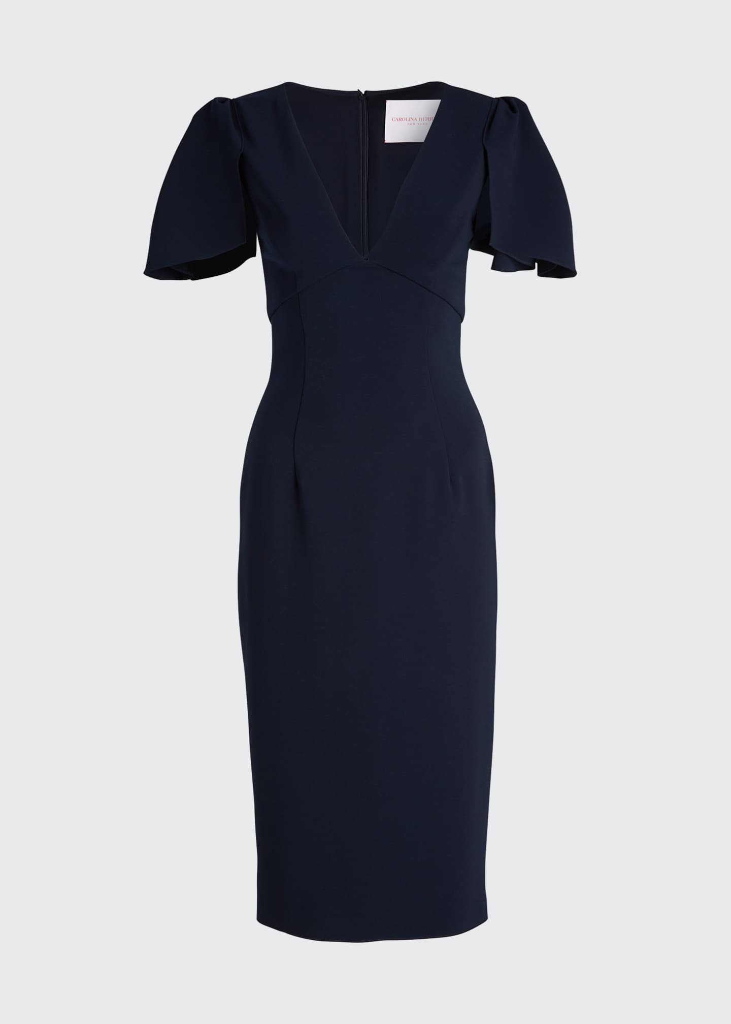 Image 5 of 5: Ruffle-Sleeve V-Neck Sheath Dress