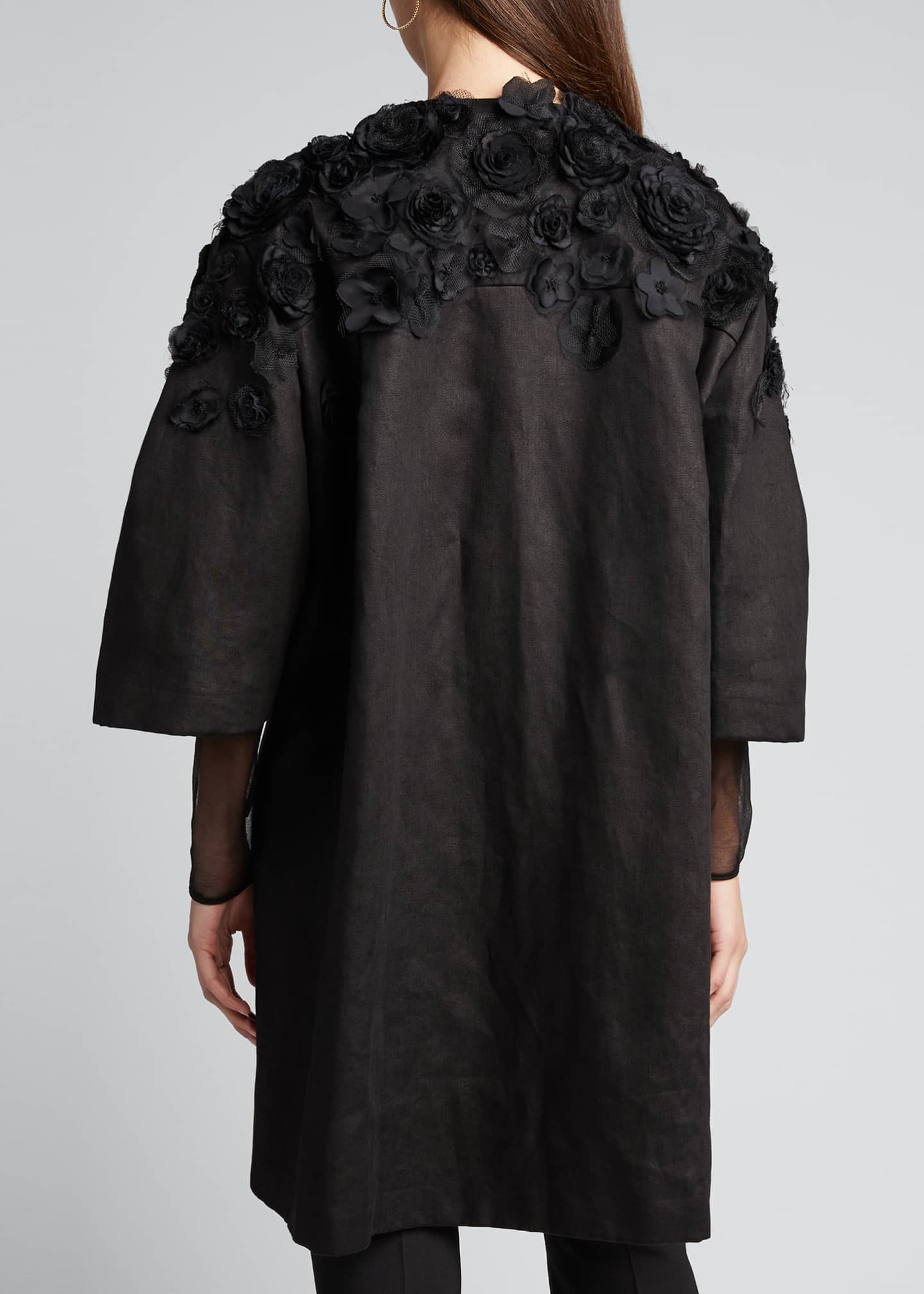 Image 2 of 5: Wide Pleat-Sleeve Embroidered Coat