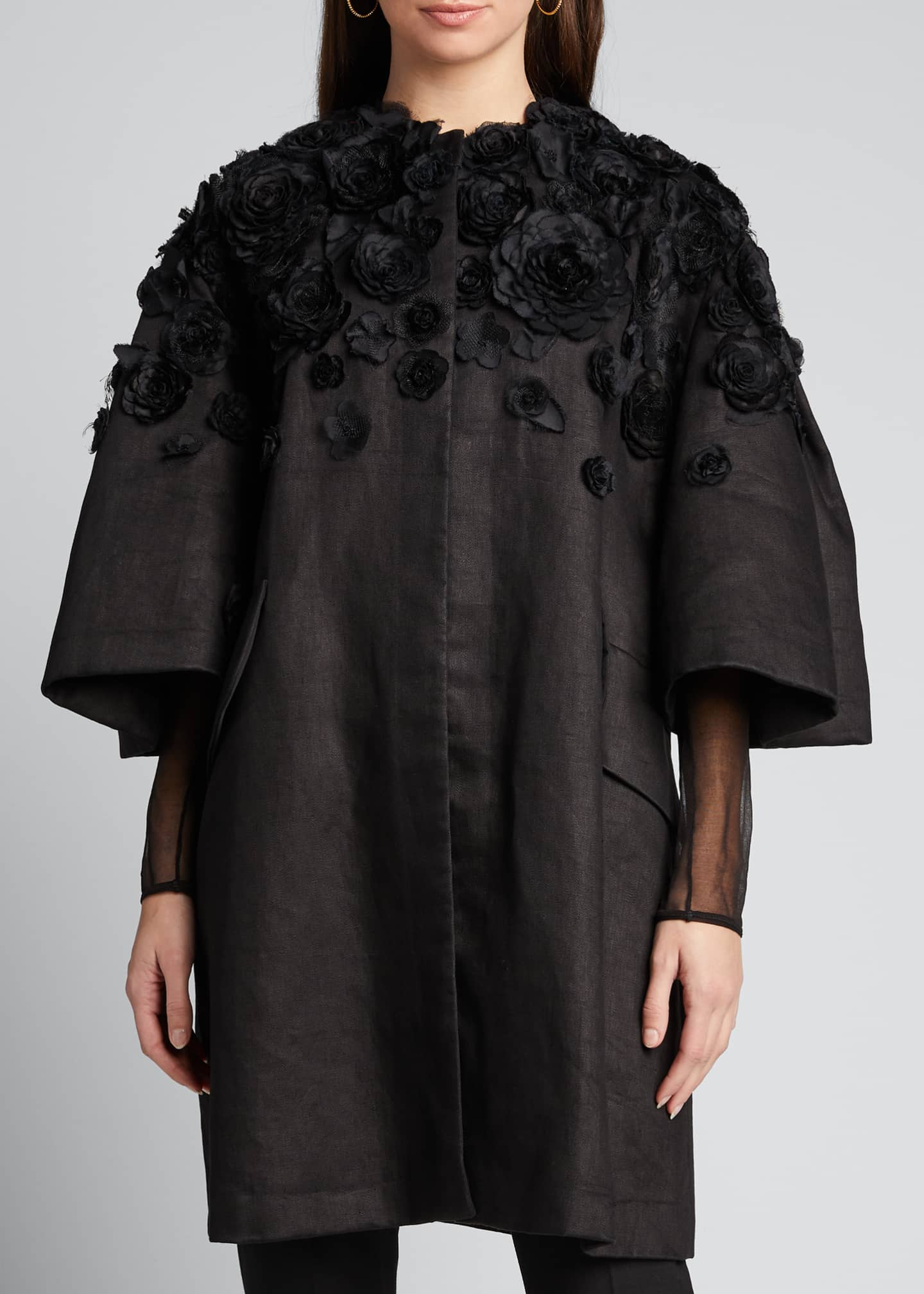 Image 3 of 5: Wide Pleat-Sleeve Embroidered Coat