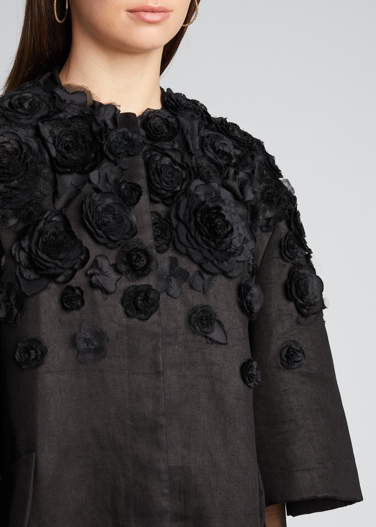 Image 4 of 5: Wide Pleat-Sleeve Embroidered Coat
