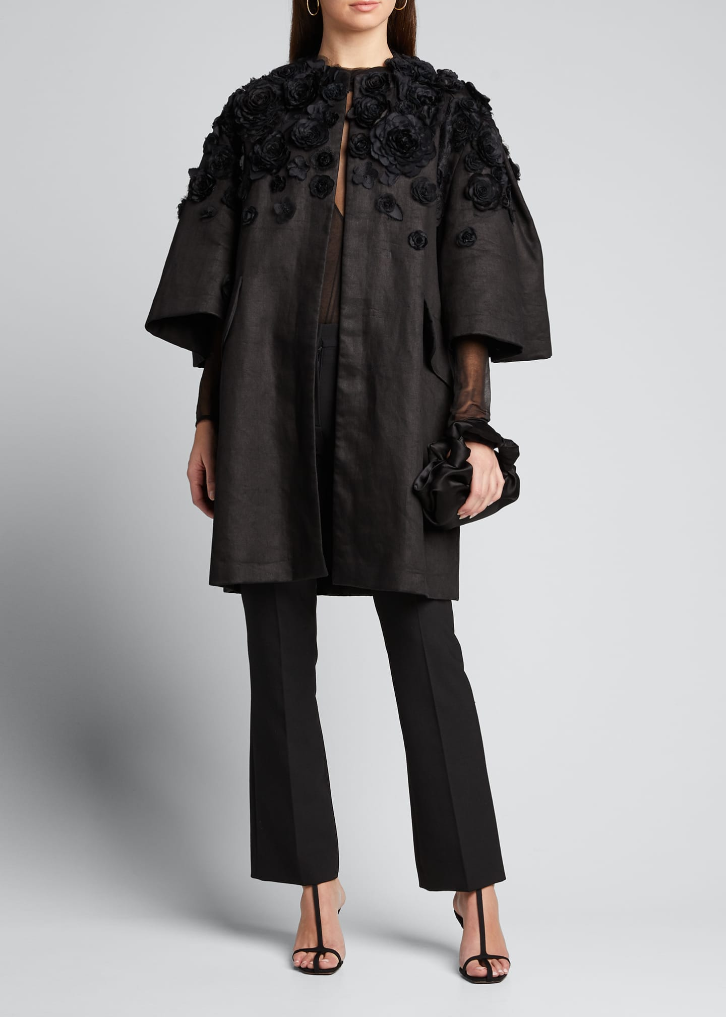 Image 1 of 5: Wide Pleat-Sleeve Embroidered Coat