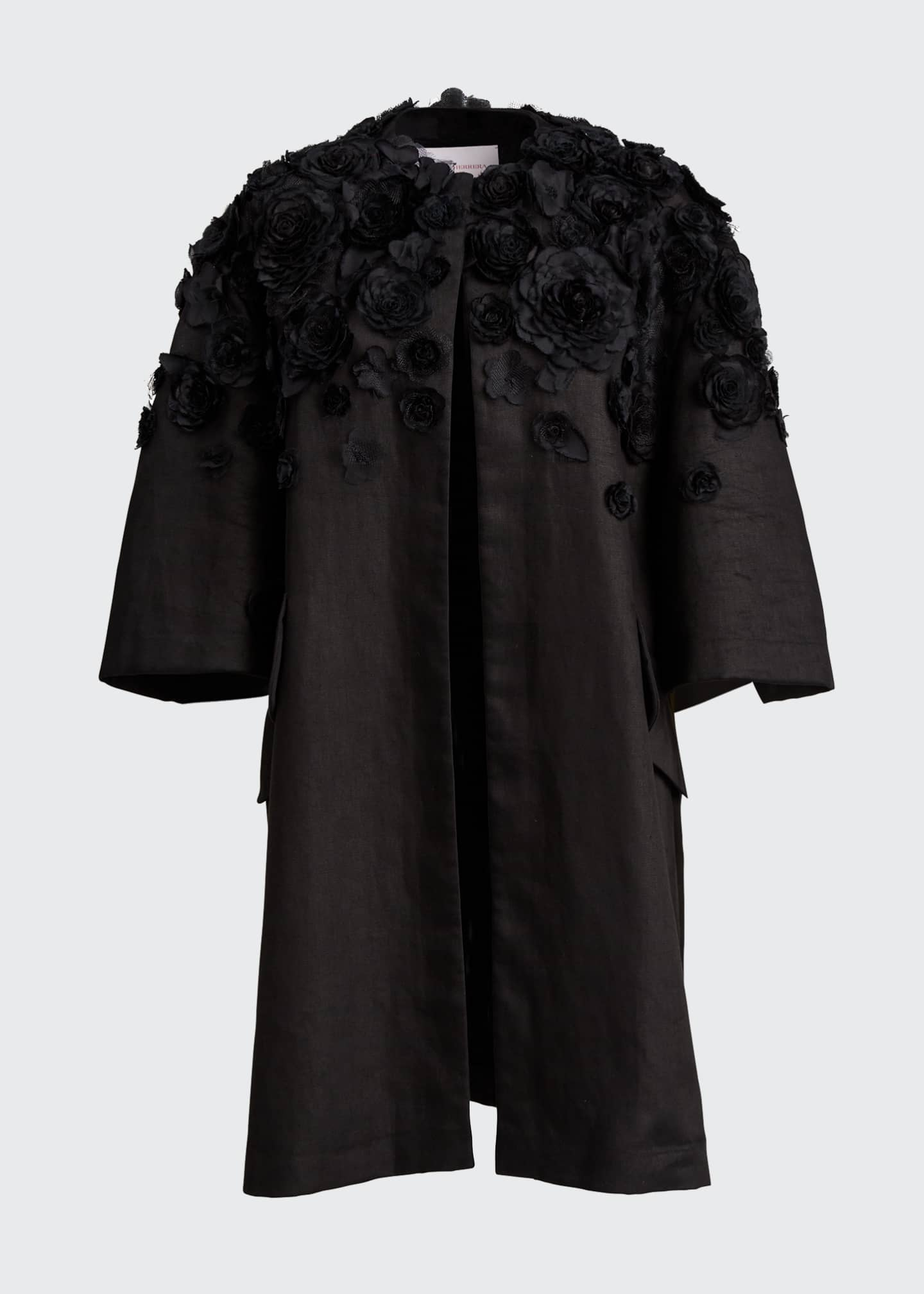 Image 5 of 5: Wide Pleat-Sleeve Embroidered Coat