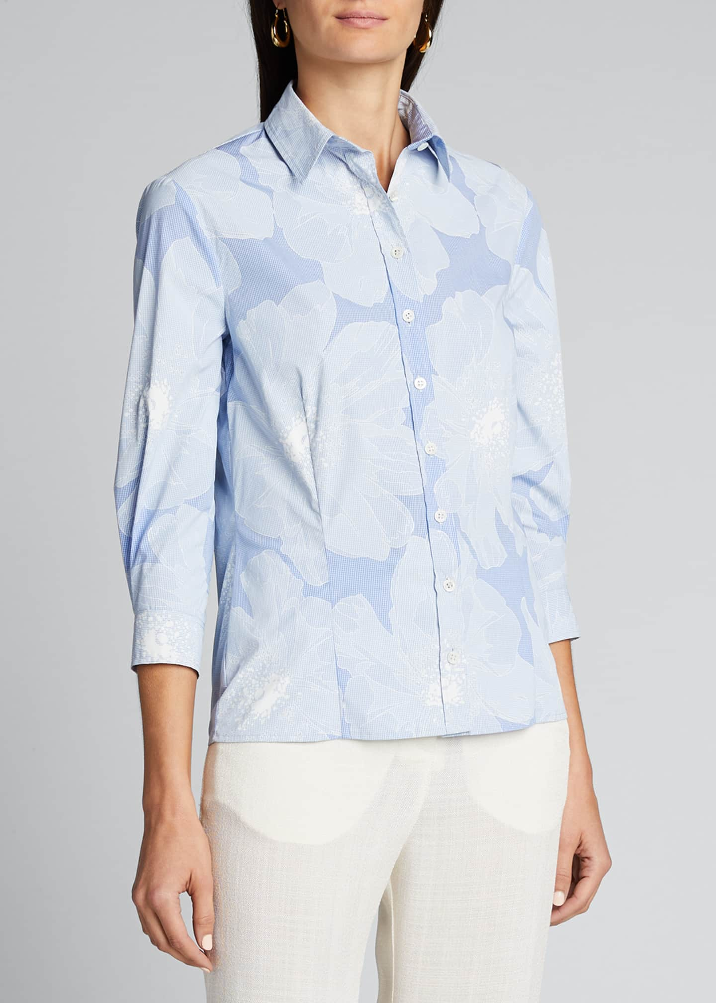 Image 3 of 5: Tonal Floral Pinstriped Classic Button-Front Shirt