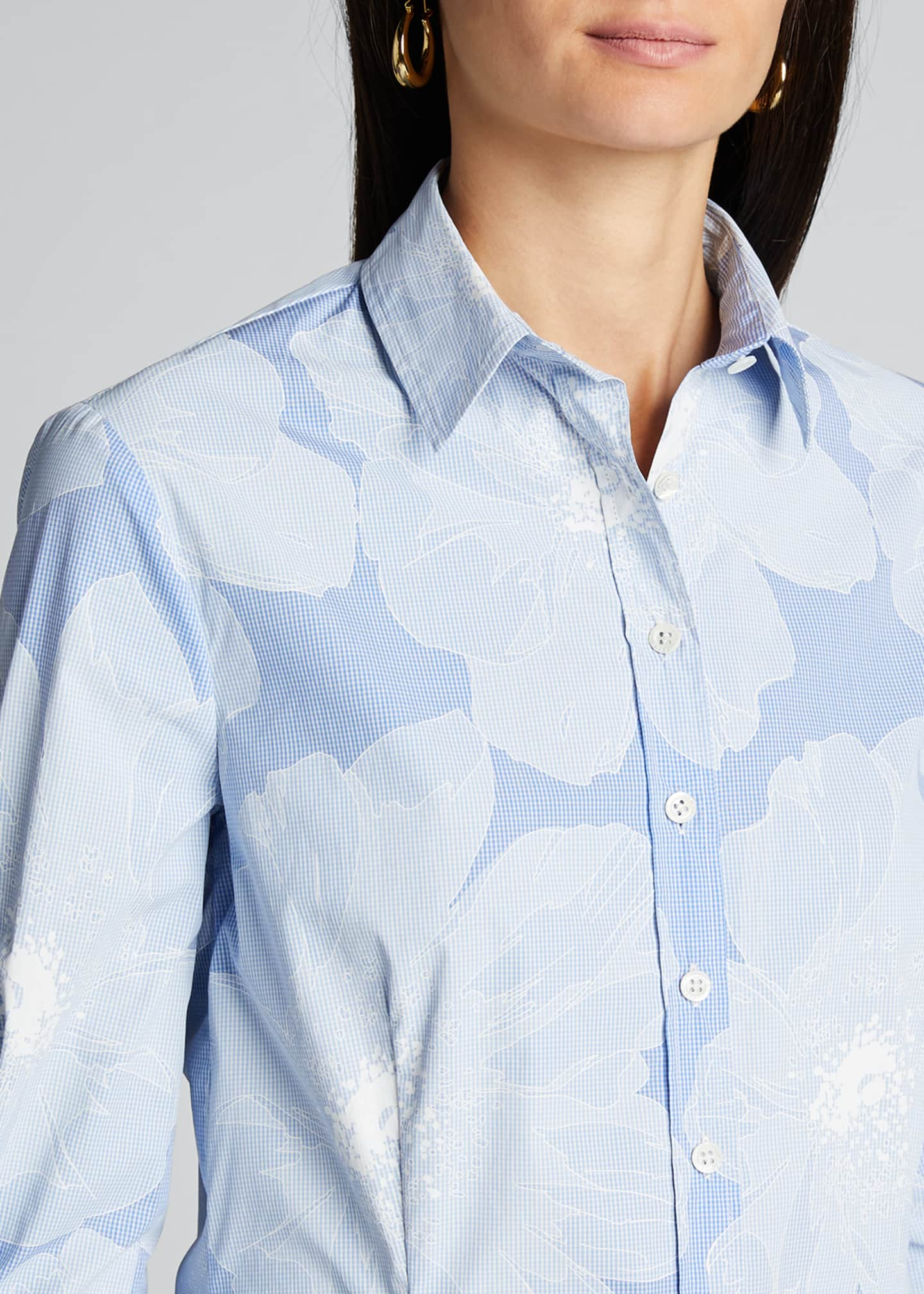 Image 4 of 5: Tonal Floral Pinstriped Classic Button-Front Shirt