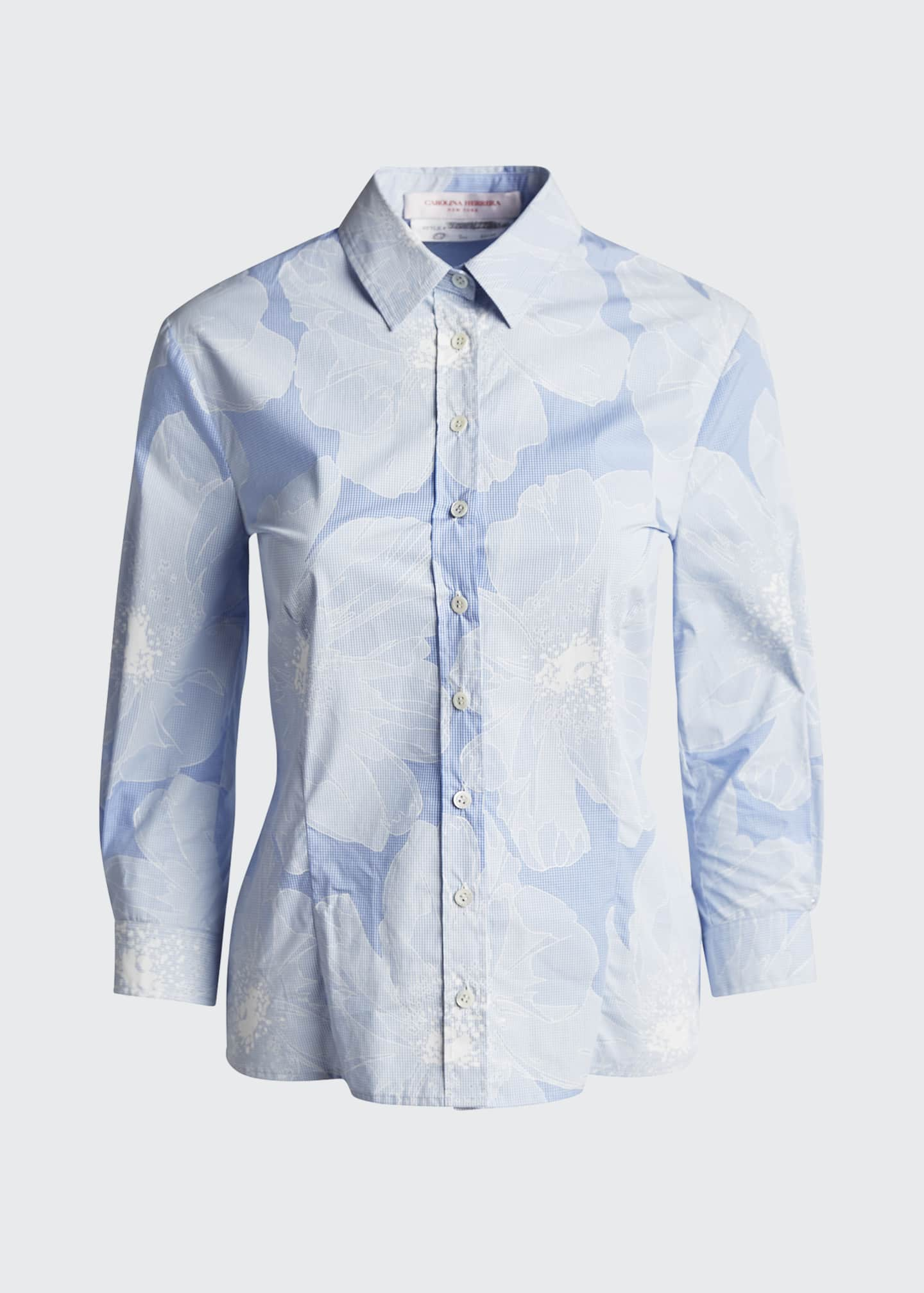 Image 5 of 5: Tonal Floral Pinstriped Classic Button-Front Shirt