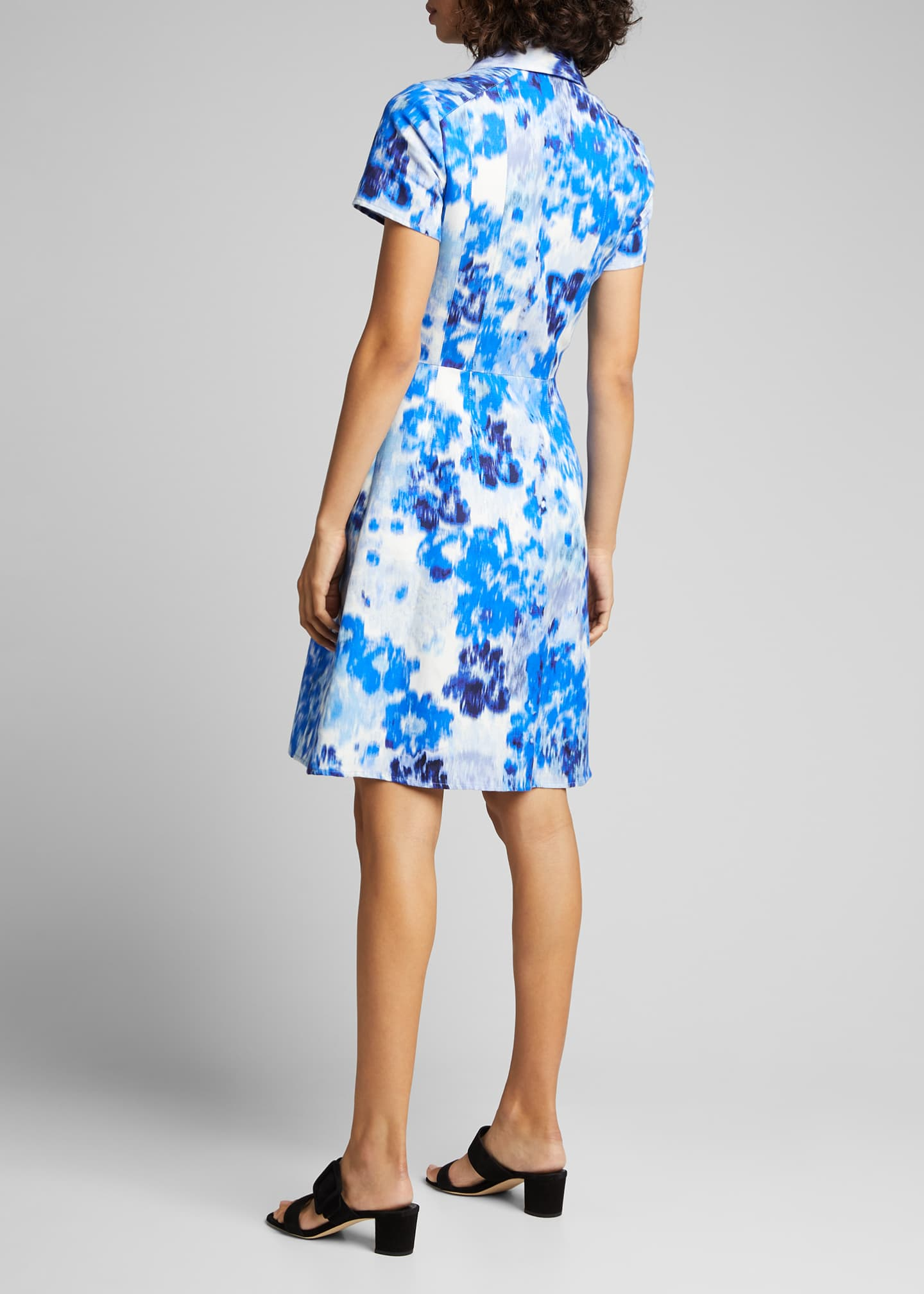 Image 2 of 5: Floral Print Short-Sleeve Shirtdress