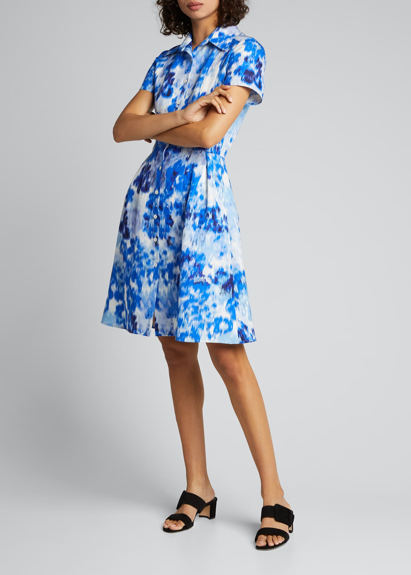 Image 3 of 5: Floral Print Short-Sleeve Shirtdress