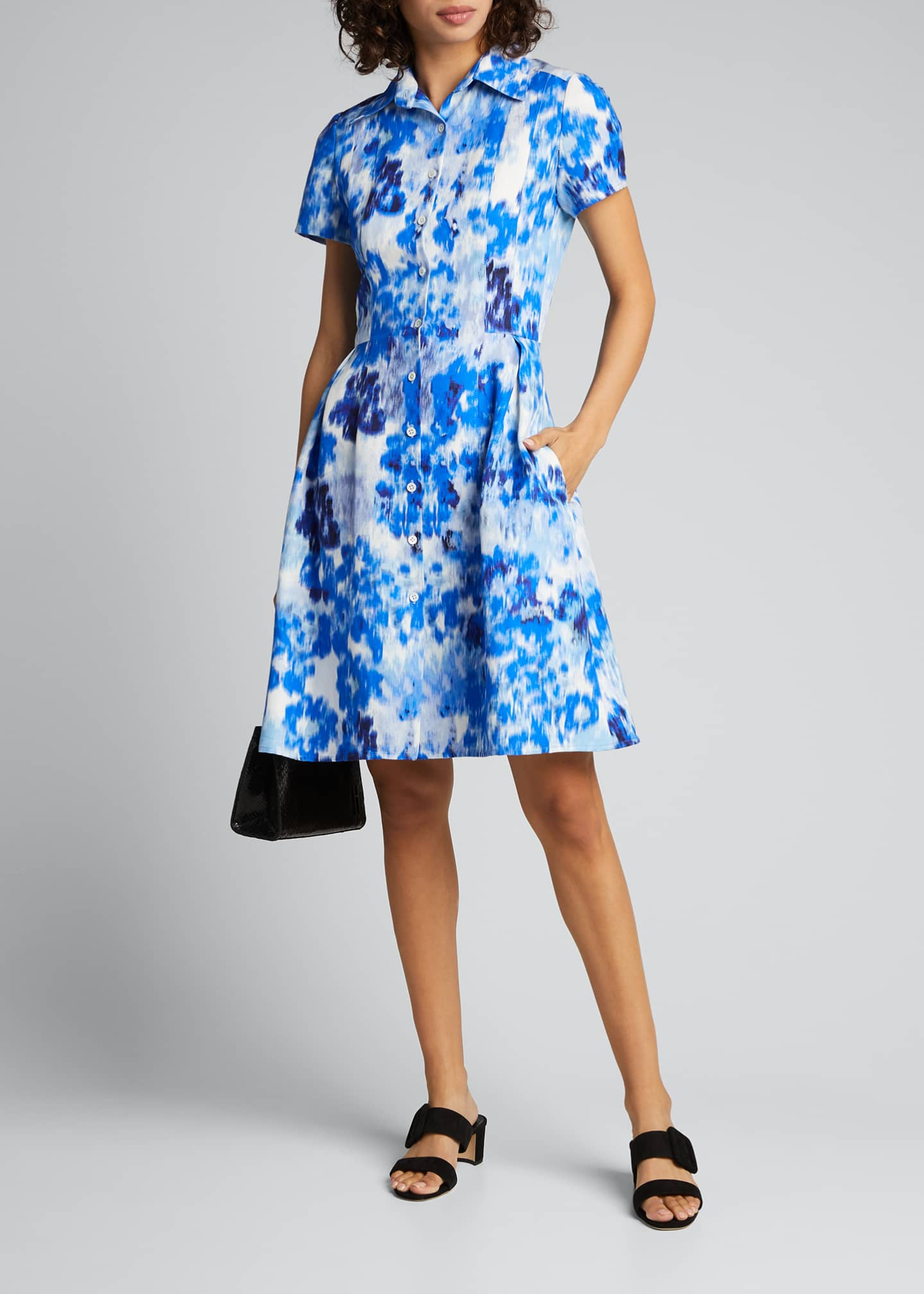 Image 1 of 5: Floral Print Short-Sleeve Shirtdress