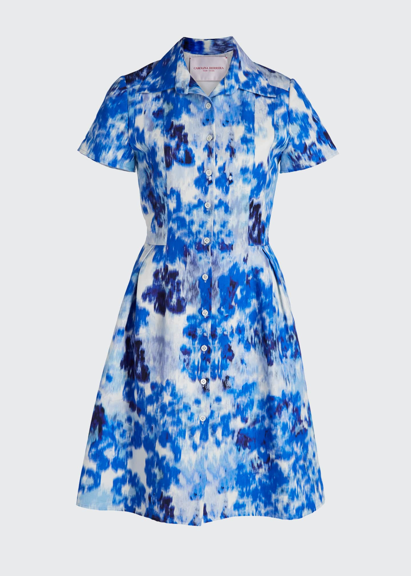 Image 5 of 5: Floral Print Short-Sleeve Shirtdress