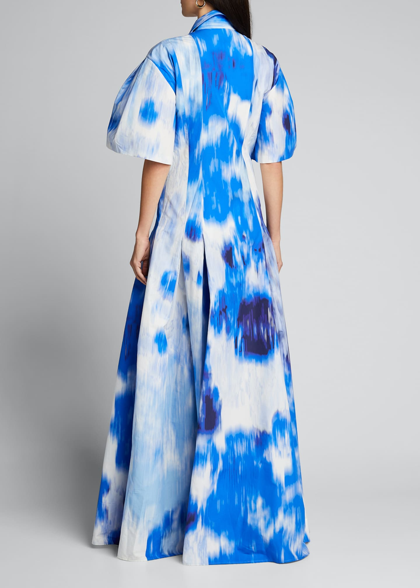 Image 2 of 5: Floral Print Cotton-Silk Pleated Shirt Gown
