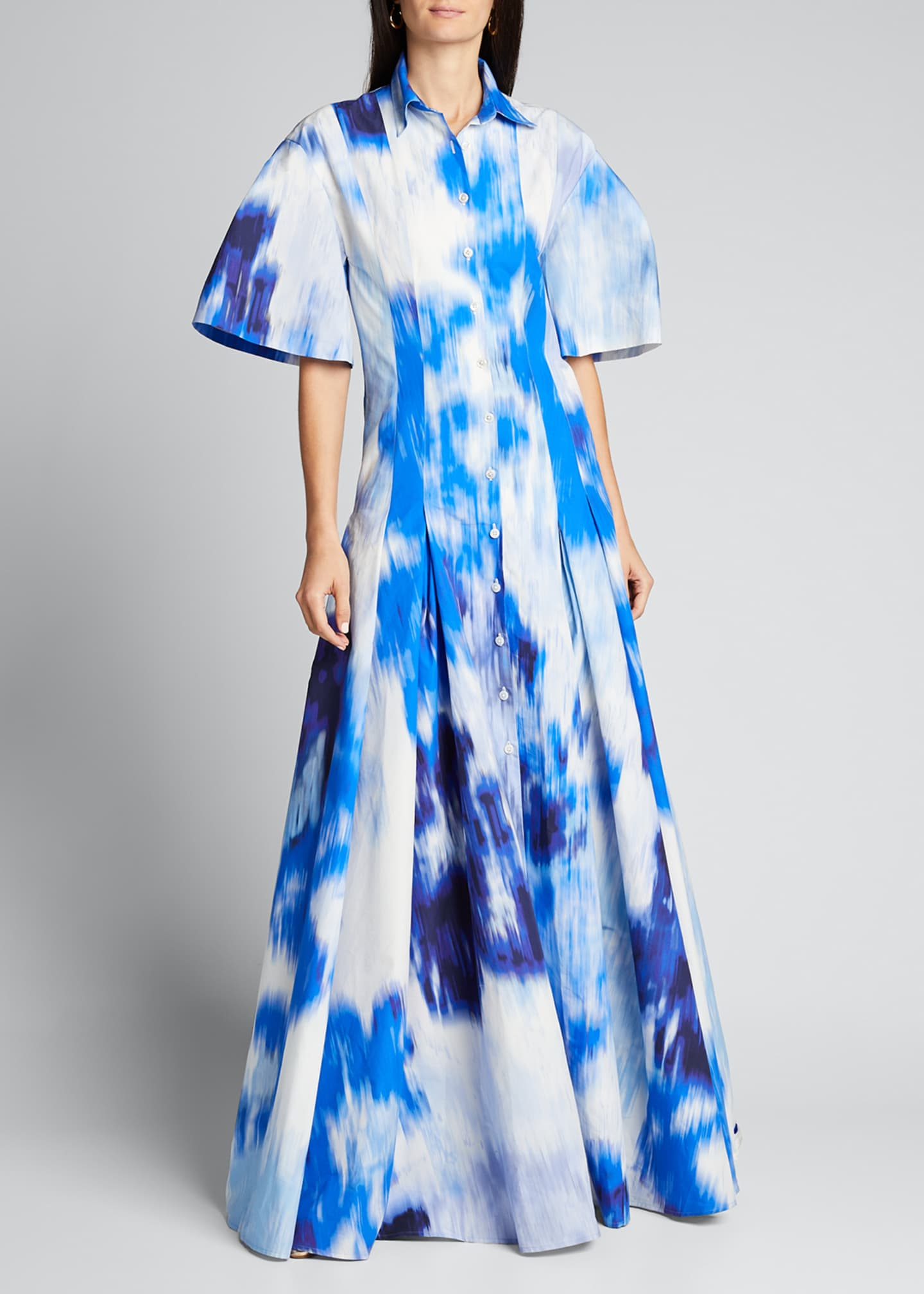 Image 3 of 5: Floral Print Cotton-Silk Pleated Shirt Gown