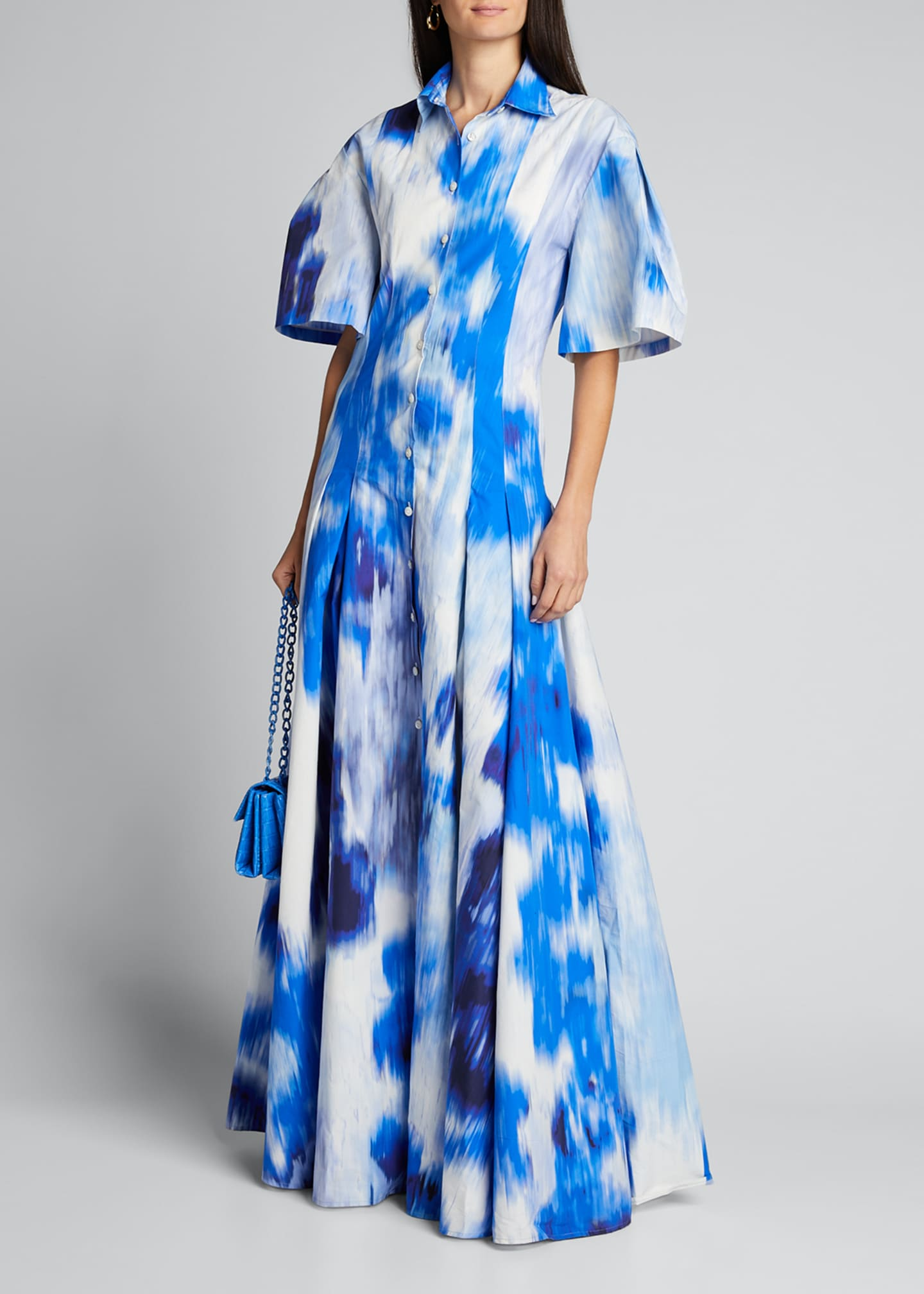 Image 1 of 5: Floral Print Cotton-Silk Pleated Shirt Gown