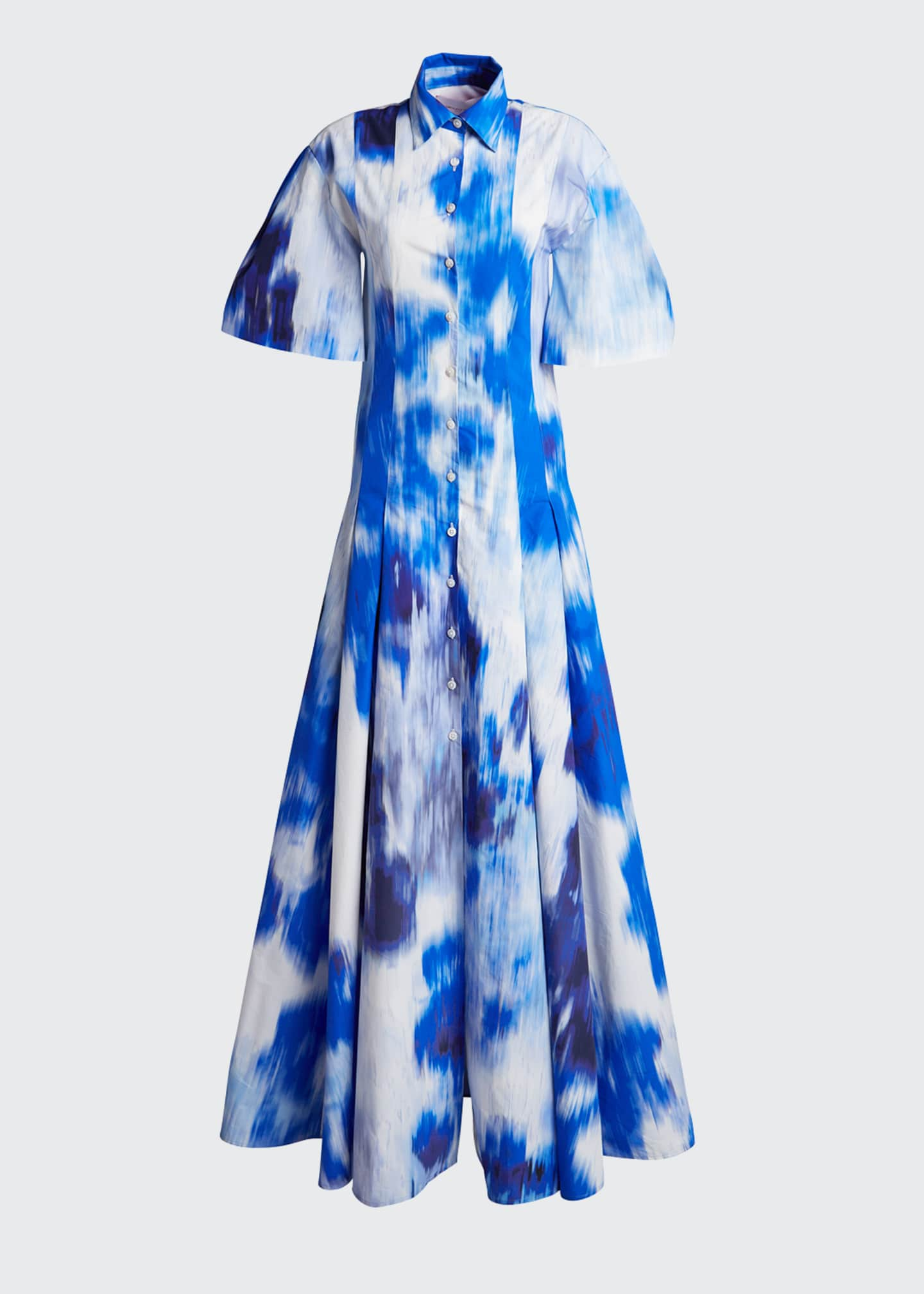 Image 5 of 5: Floral Print Cotton-Silk Pleated Shirt Gown