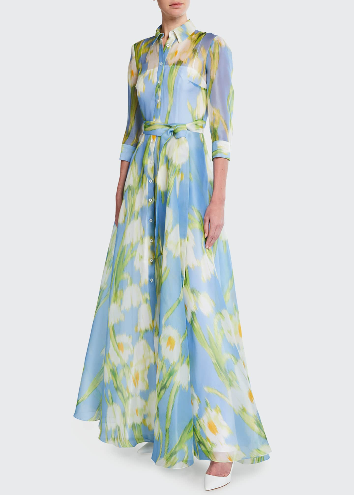 Image 1 of 5: Floral Print Silk Shirtdress